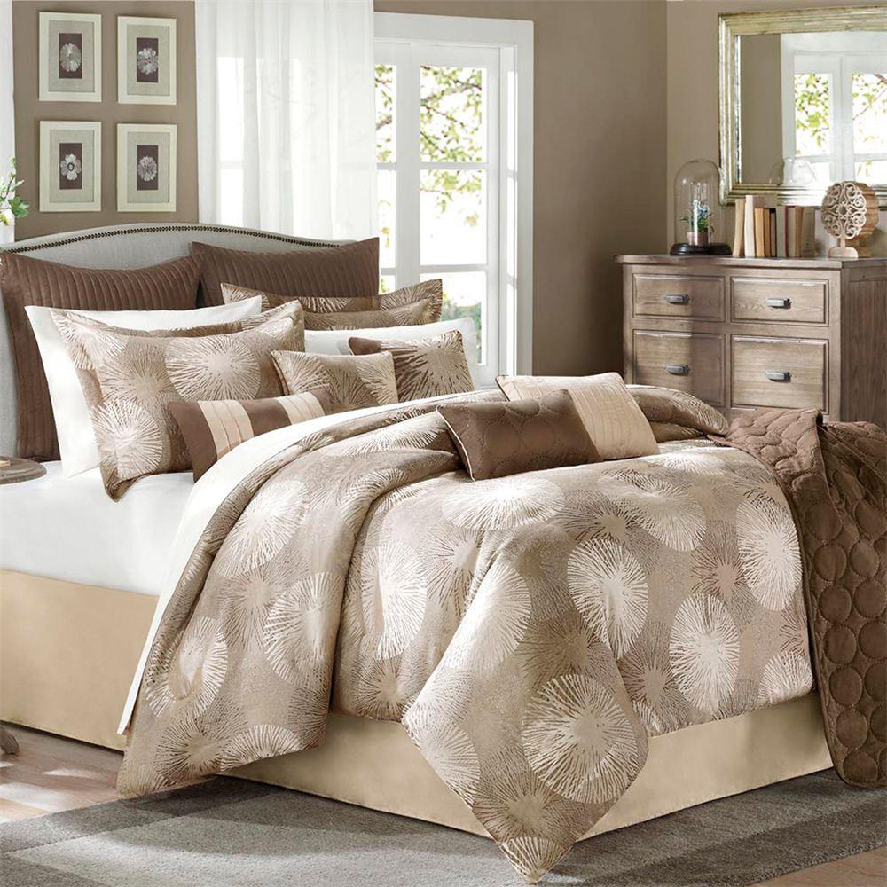 Avenue 8 Sloane 9 Piece Queen Comforter Set Brown Tan