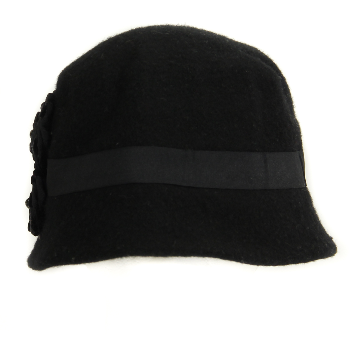 Details about Nine West Women s Black Cloche Hat With Three Side Flowers f48f0150085