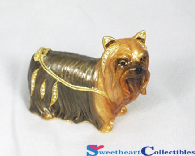 Yorkie Terrier Dog Bejeweled Jewel Trinket Box