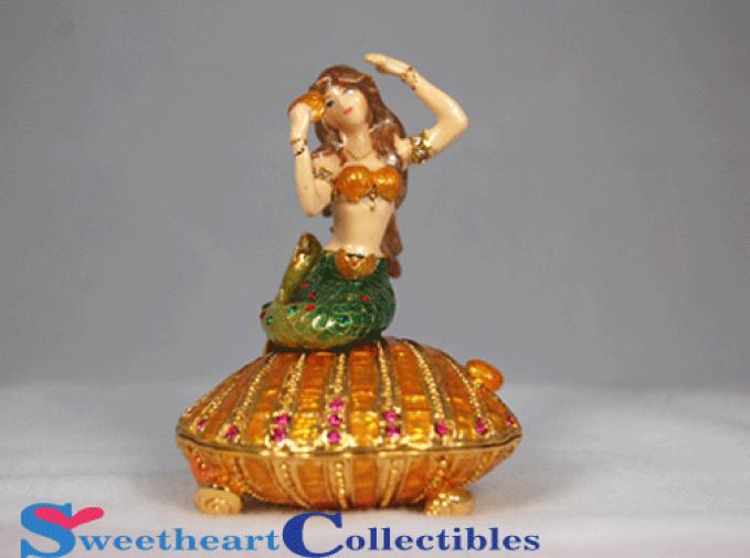 Mermaid On Shell Bejeweled Hinged Trinket Box