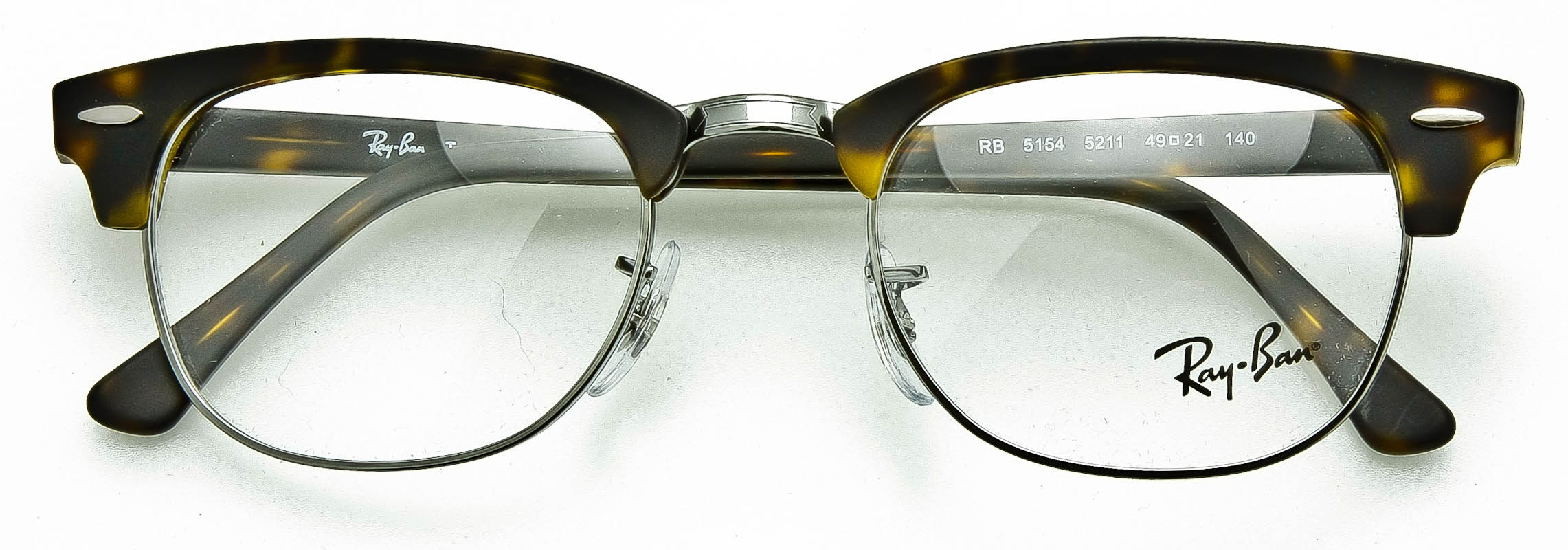 RAY-BAN EYEGLASS OPTICAL FRAME Clubmaster Matte Tort-Silver RB5154M ...