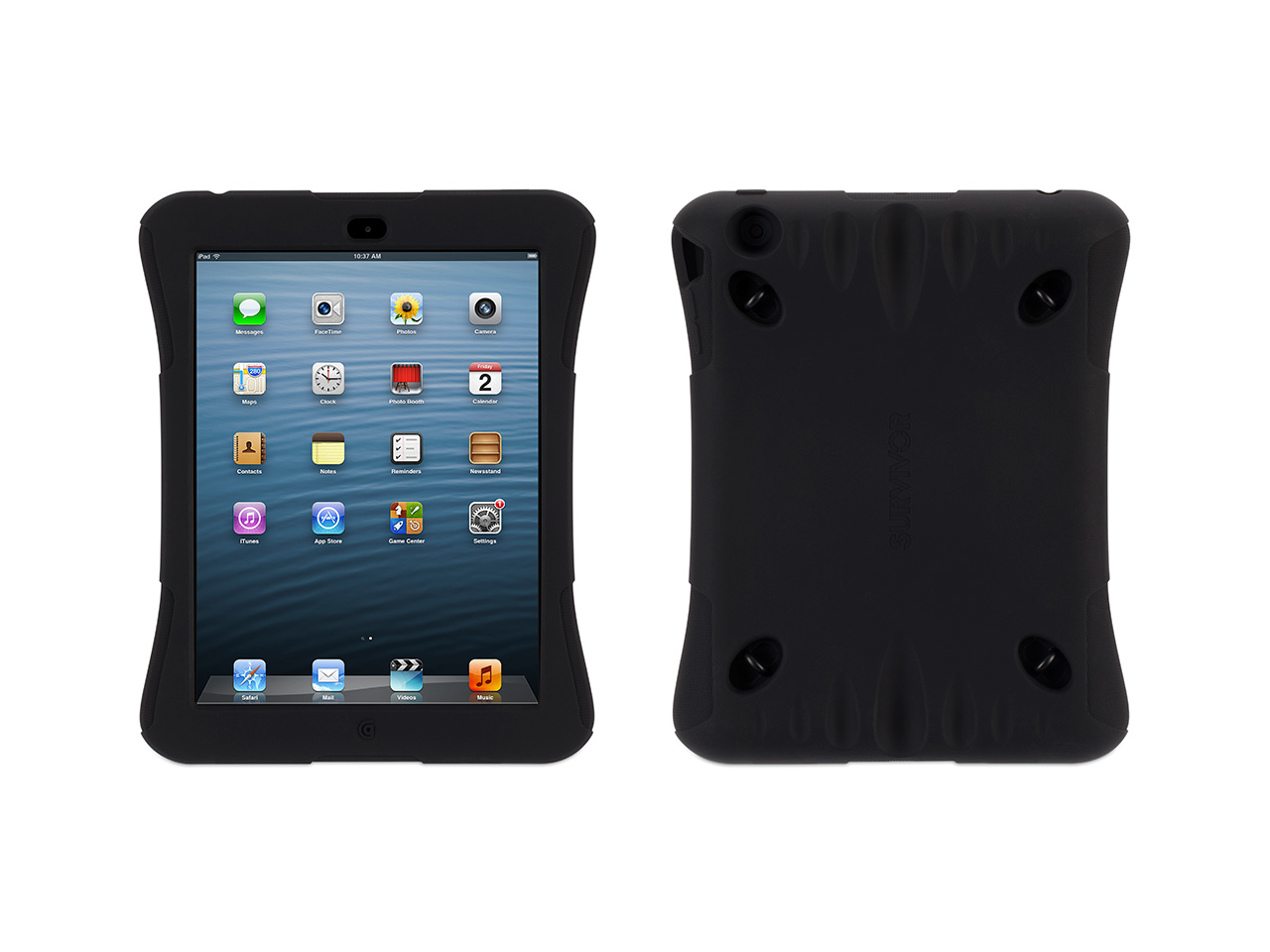 So you like to play games on your iPad mini. That doesn't mean you don't need serious protection. And that's why we made Survivor Play.It's made of tough silicone, shaped to fit a two-handed gaming grip, while providing extra padding where your iPad needs it most: at the corners. Underneath the silicone, there's a skeleton of stiff polycarbonate plastic that gives it shape and acts like a bulletproof vest for your iPad. Cutouts and raised button covers give you access to the ports, cameras and controls of your iPad. An adjustable shoulder strap clips directly into the polycarbonate skeleton at any of four connection points, to give you lots of handsfree carrying options.Though it may be all about gaming, Survivor Play doesn't play around when it comes to protection. Survivor Play is just as tough against impact and vibration as our more (ahem) serious Survivor cases. We researched standards set by the U.S. Department of Defense (in MIL-STD-810G) and used them as guidelines in designin