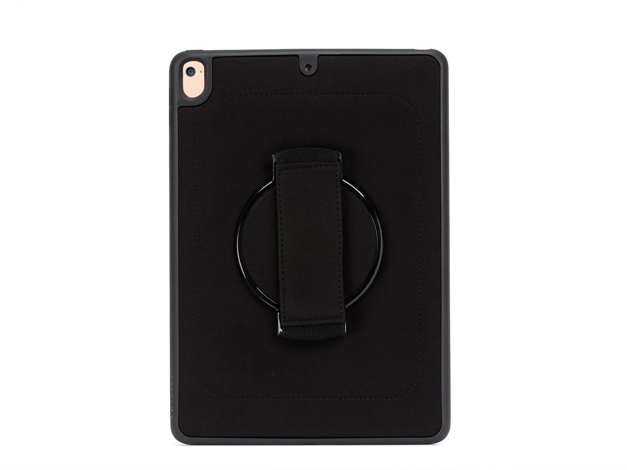 Whether you're reading in a coffee shop, or checking out the headlines as you ride the 6:45 in to work, AirStrap 360 makes it easier, safer, and more fun to use your iPad.  Hold On Tight –Slip your hand under the strap on the back to experience the real beauty of AirStrap 360 carrying case. It hugs your hand, gently but firmly, making your iPad easy to hold and leaving your other hand free to use your Multi-Touch display. The frame that grips your iPad rotates in 30° intervals, to give you the best viewing angle with the most natural position of your hand.  Drop Protection –AirStrap 360 surrounds your iPad with durable, shock-absorbent TPU rubber, protecting its edges without getting in the way of controls or ports. AirStrap 360's frame protects your iPad from three-foot (8-meter) drops onto concrete while raised edges around the screen protect the display from scratches when you lay your 9.7-inch iPad facedown on a table or desk. Sound ports on the top and