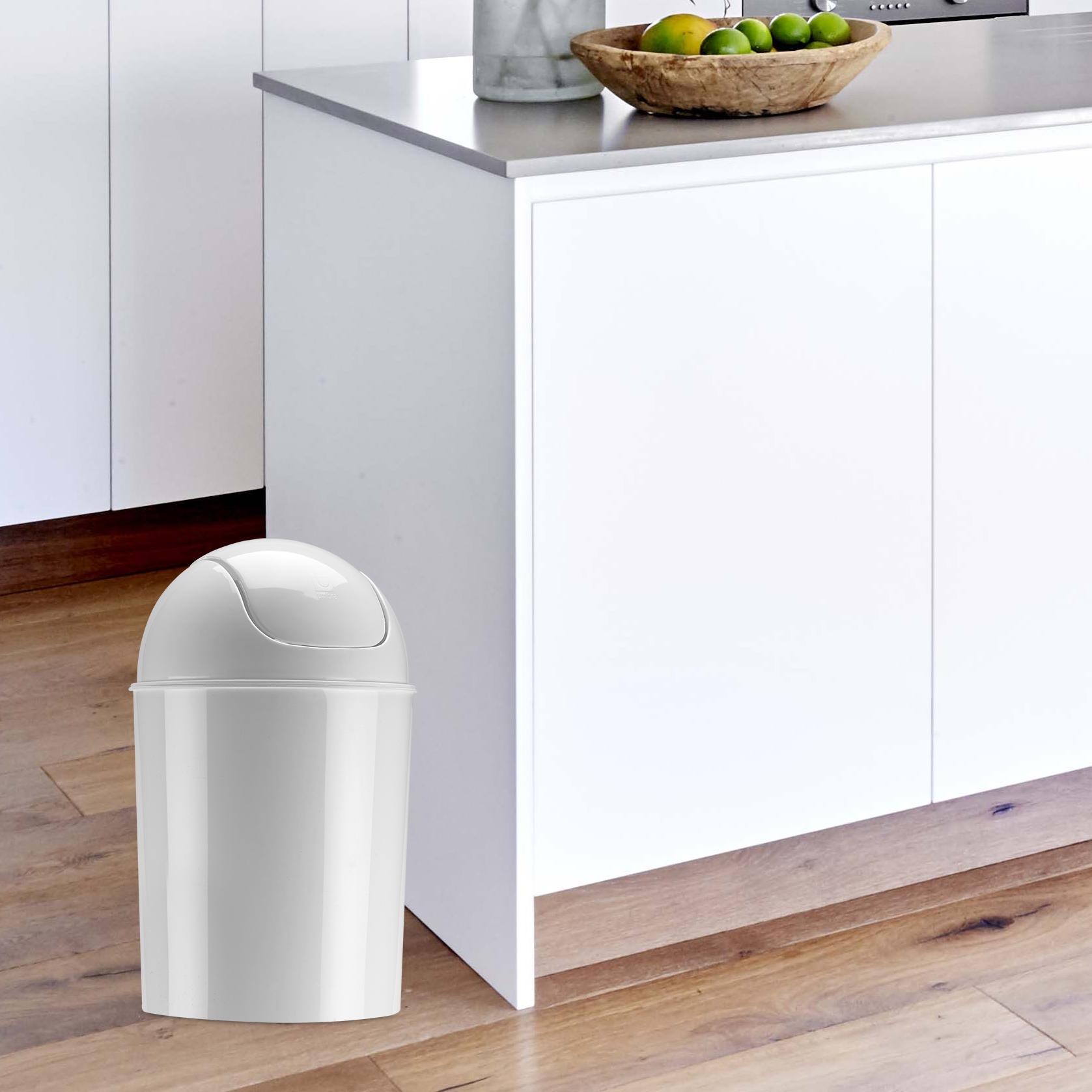 Waste Garbage Basket Trash Can for Bathroom 1 1/2 Gallon Swing Lid ...