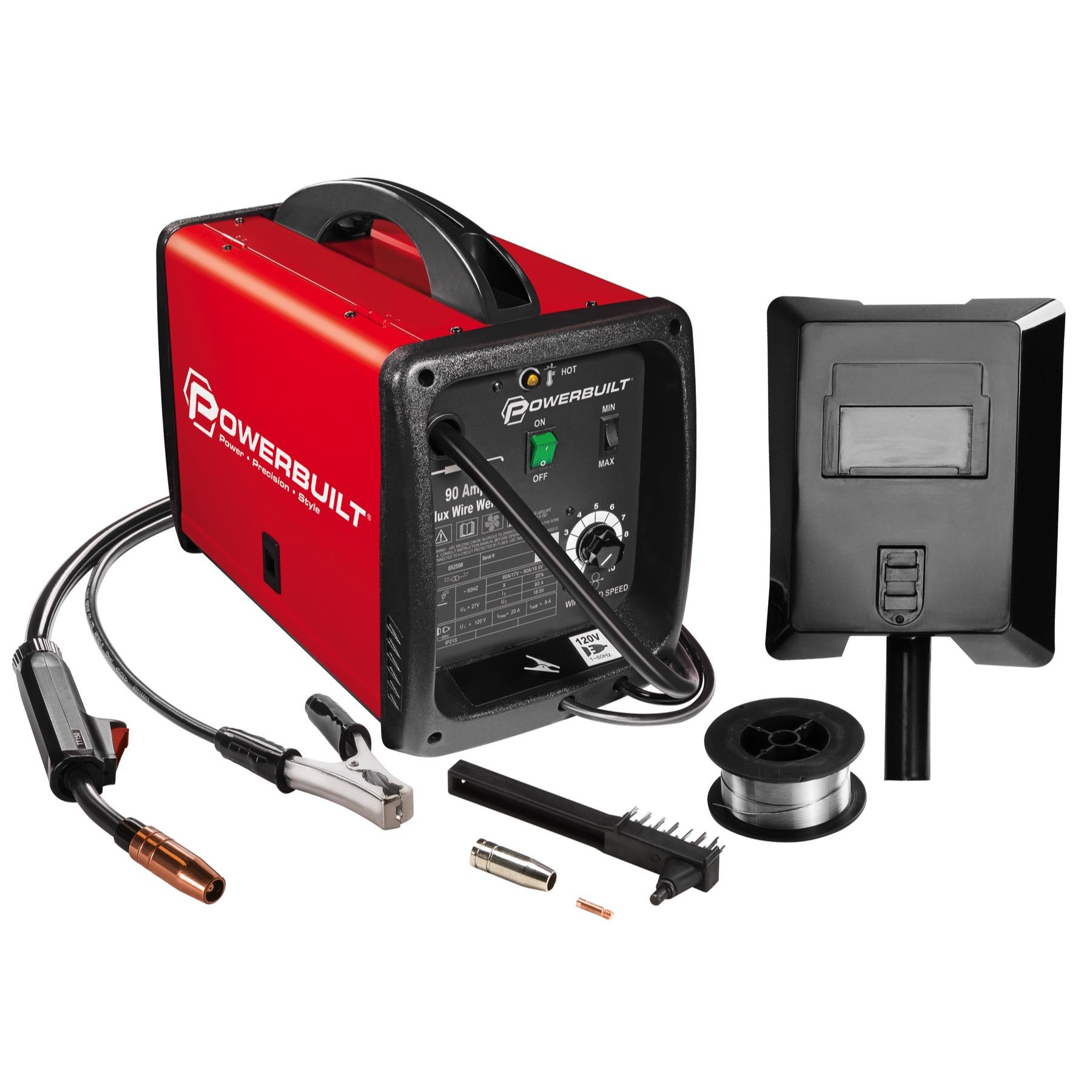 Powerbuilt Mig 90 Amp Flux Core Wire Feed Welder Compact - 240032 ...