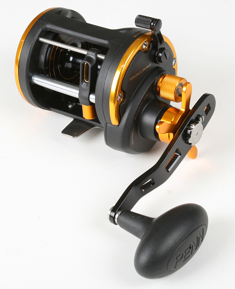 Penn sql20lwlh squall level wind casting l h reel open for Open reel fishing