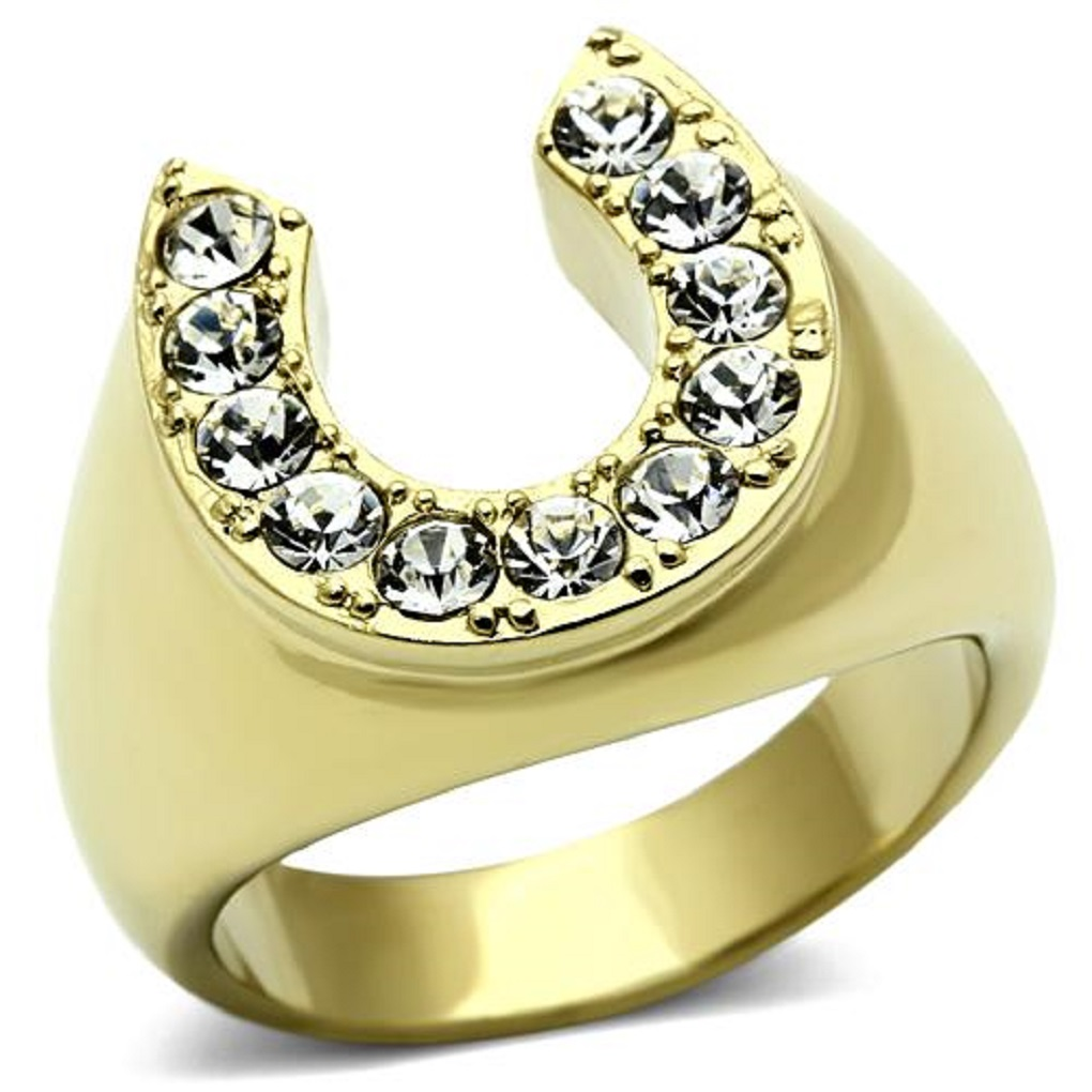 Mens Stainless Steel Gold IP Good Luck Crystal Horseshoe Ring Sizes