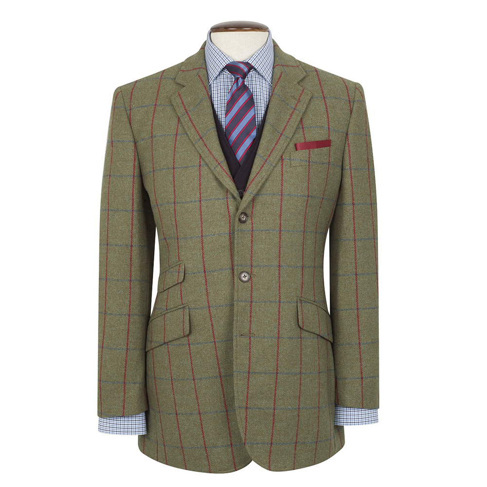 579551c29dab2 New Brook Taverner Yorkshire Tweed Jacket- Green with Navy/Red Check - Size  38R