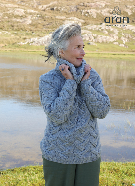 Marine Blue Ladies Chunky Cable Cowl Wool Sweater by Aran Mills