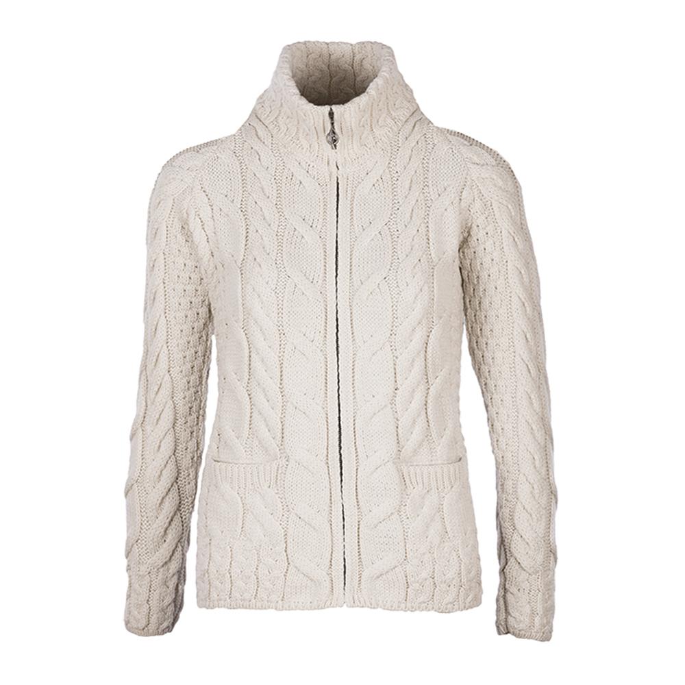 cardigan con bottoni 100/% lana merino stile Aran Beige X-Large