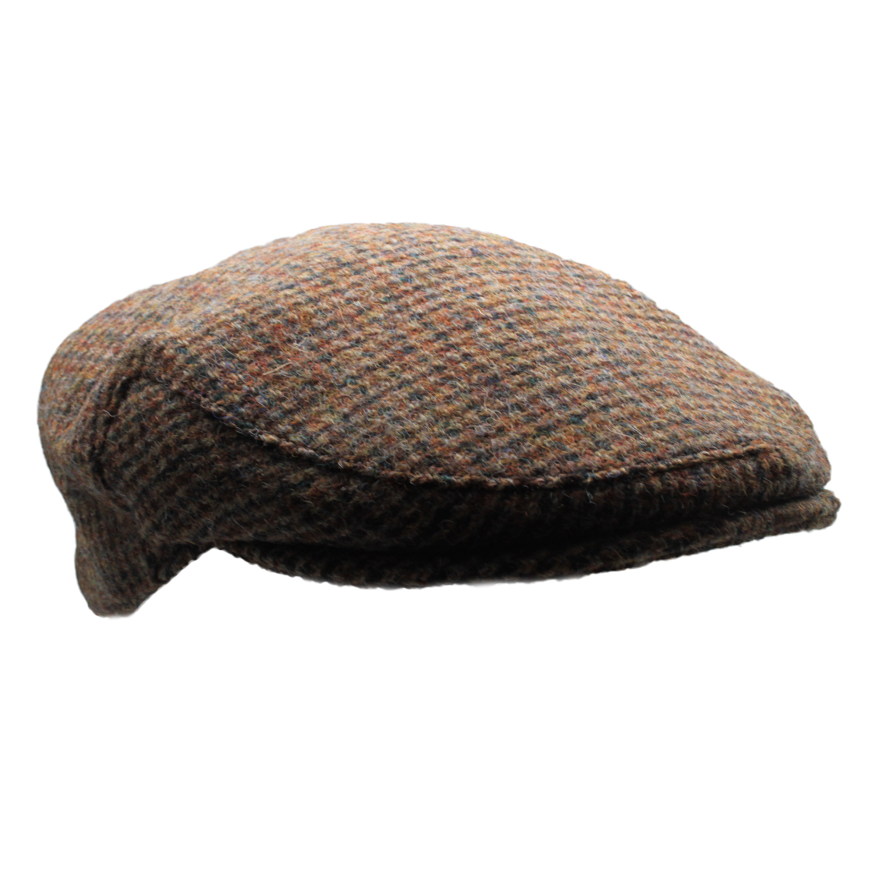 cc8bb70d2 Details about New Country 100% Scottish Harris Tweed Flat Cap - Brown  Dogtooth