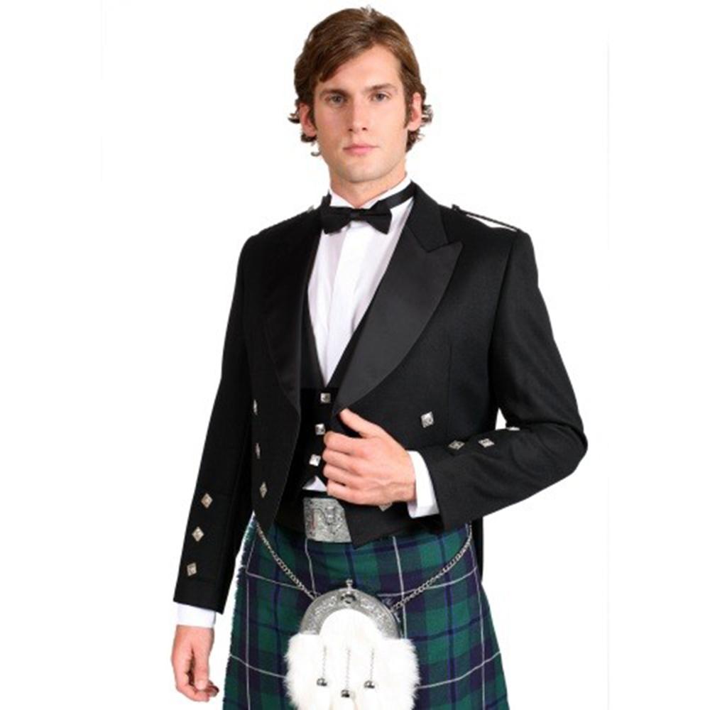 New Mens Black Prince Charlie Kilt Jacket and Coatee Vest Perfect for Wedding