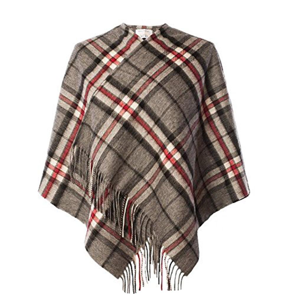 NEW Fashion Scialle Poncho 100% LANA D'AGNELLO MINI Cape in Thomson grigio