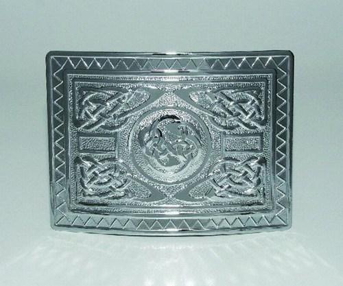 Ravissement Neuf Scottish Highland écossais Tartan Kilt Highland Swirl Boucle Finition Chrome-afficher Le Titre D'origine