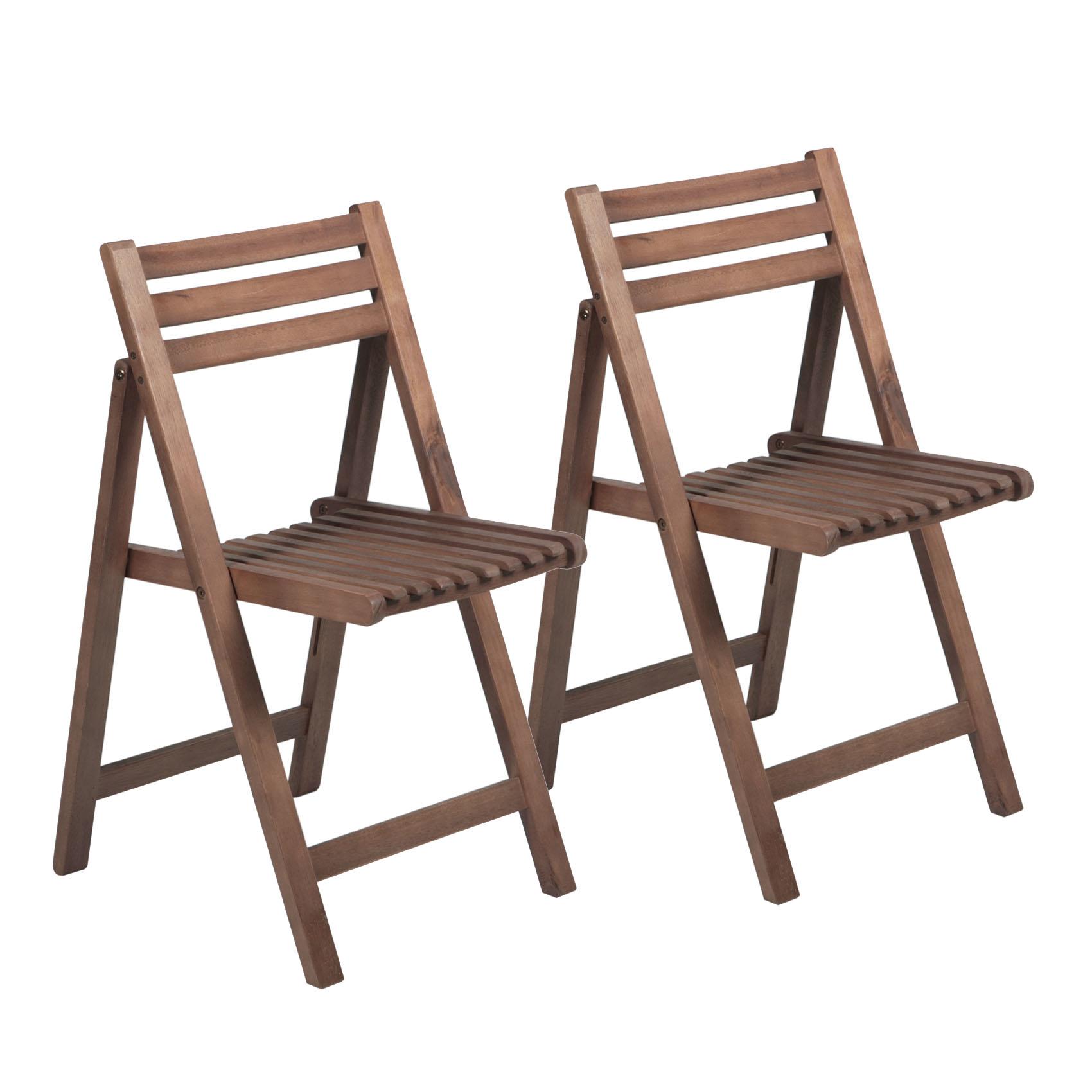 Pair Of Garden Folding Chairs Acacia Hardwood Folding