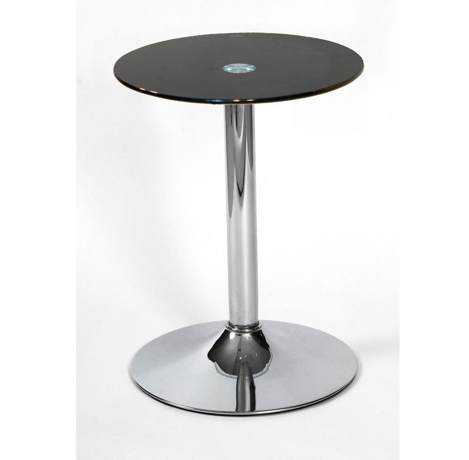 living room side table glass and chrome drew lamp table black or clear. Black Bedroom Furniture Sets. Home Design Ideas