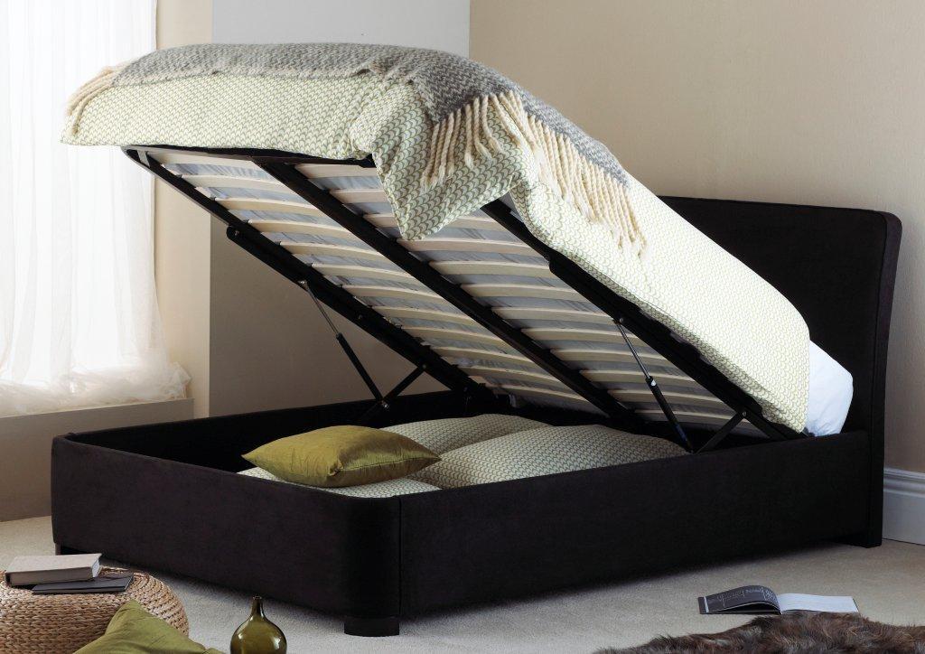 Double Ottoman Bed Frame Faux Suede Paris Bedstead