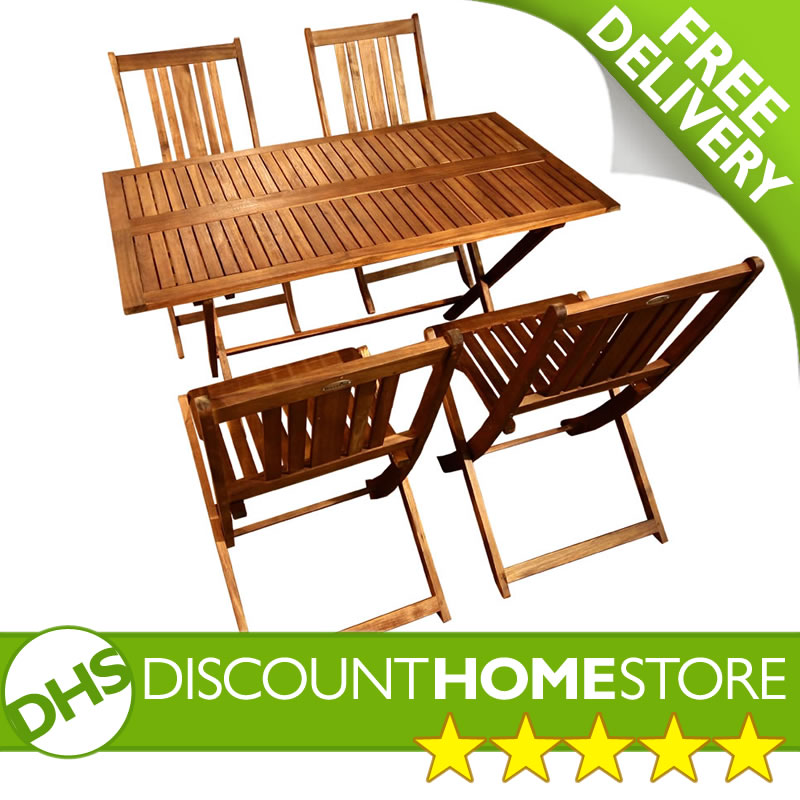 Garden Table And Chairs Set Of 4: Rectangular 4 Seater Garden Folding Table And Chairs Set