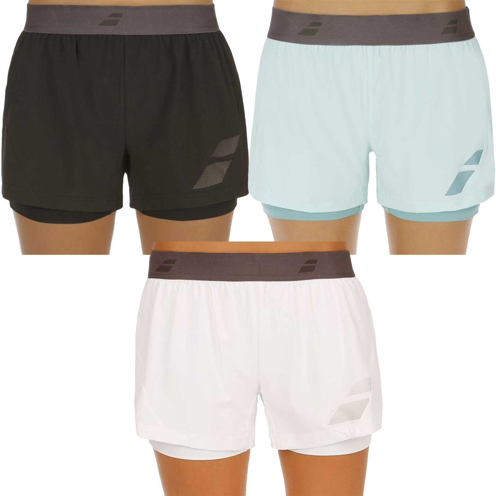 880f9709f73 Details about Babolat Womens Core Performance Tennis Sports Dual Layer Compression  Shorts