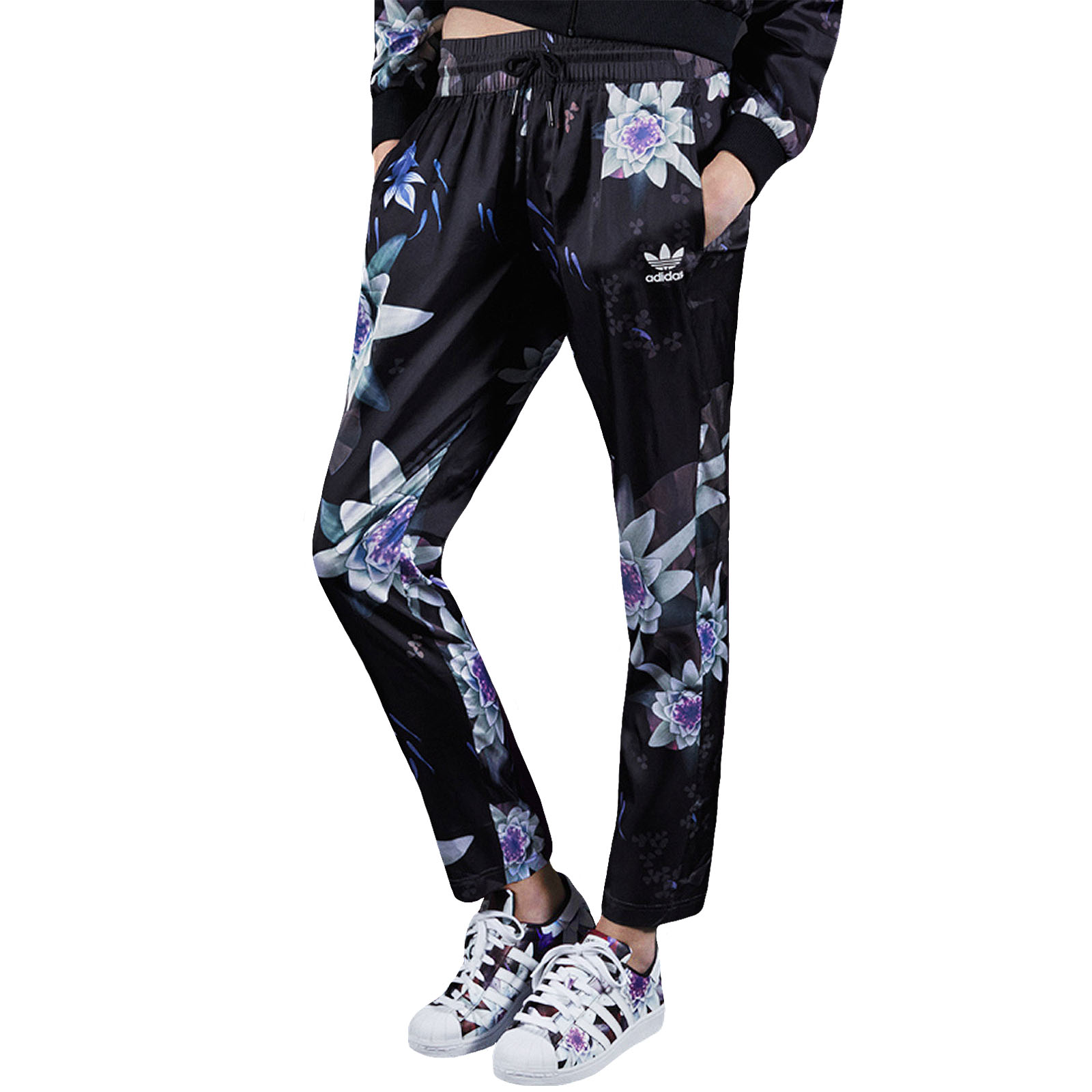 6d8de9d749 Details about adidas Originals Womens Lotus Print Tracksuit Track Bottoms  Pants - Floral