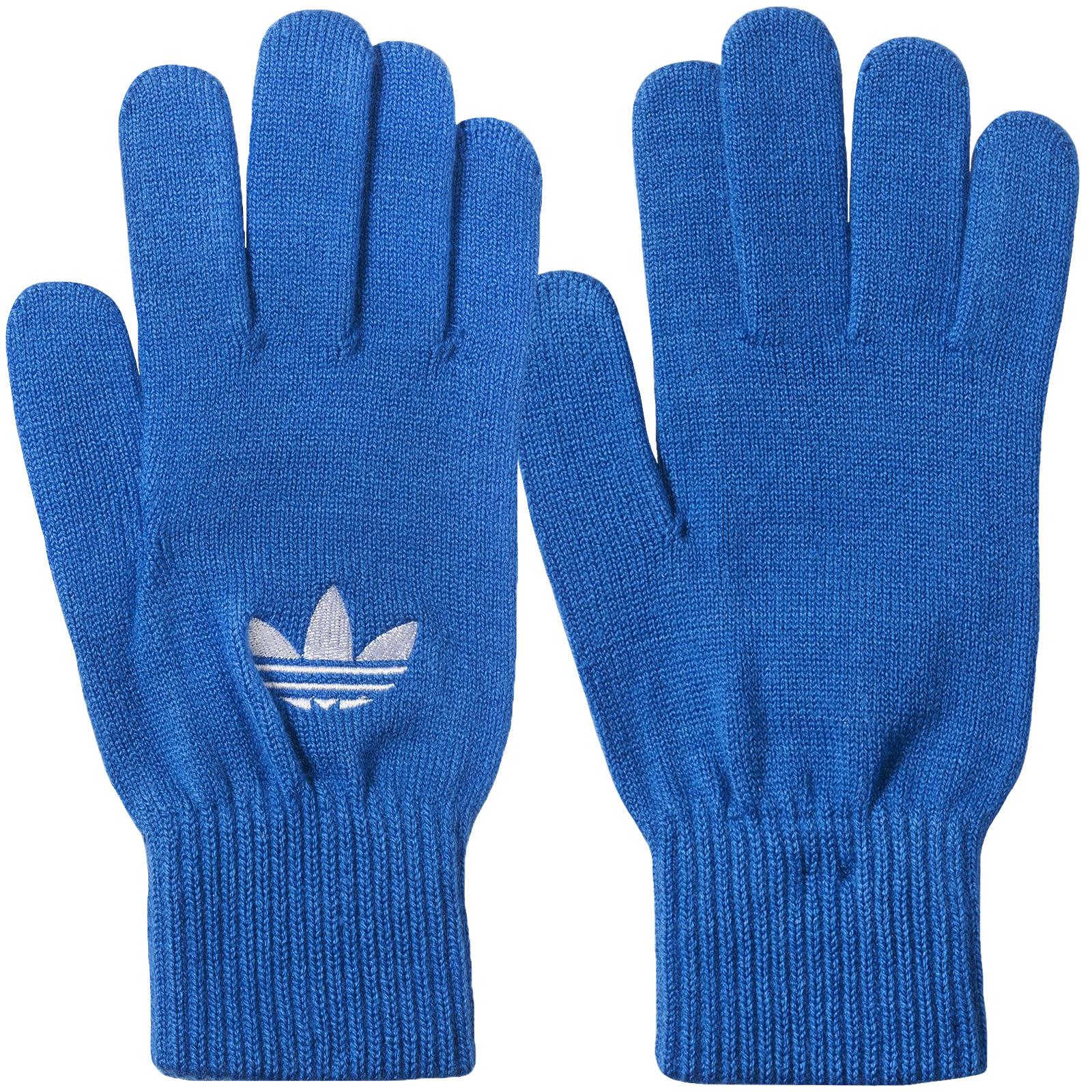 Details about adidas Originals Unisex Warm Winter Stretchy Trefoil Knitted Gloves Blue