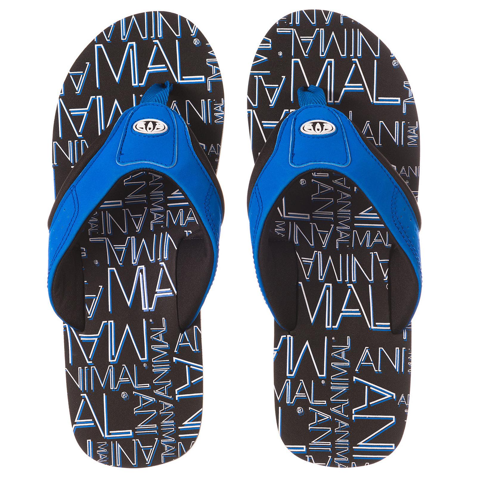 Animal Mens Jekyl Logo Summer Beach Holiday Sandals Flip Flops Black  Blue