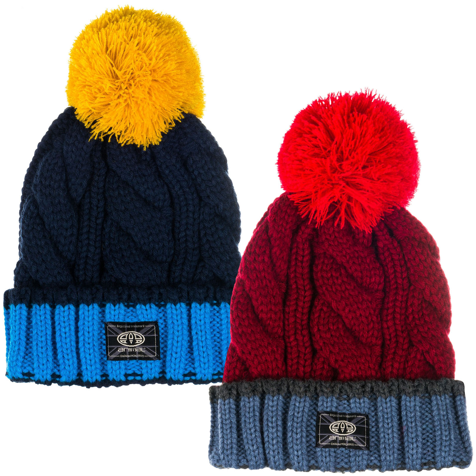 Details about Animal Boys Kids Childrens Galie Cable Knit Bobble Beanie Hat  - One Size 5ae28d24e8d