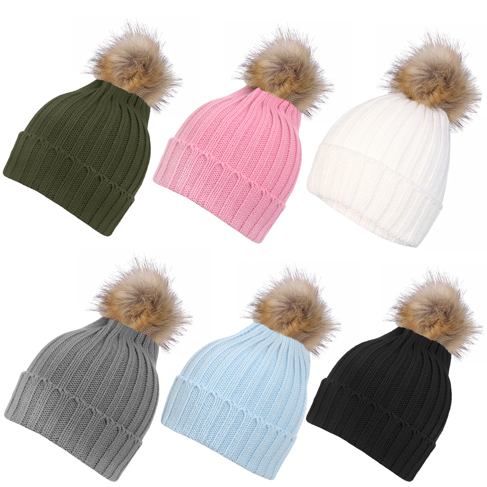 Details about Inspirations Womens Fluffy Faux Fur Pom Pom Beanie Hat  Knitted Bobble Hat 8680ef4926a