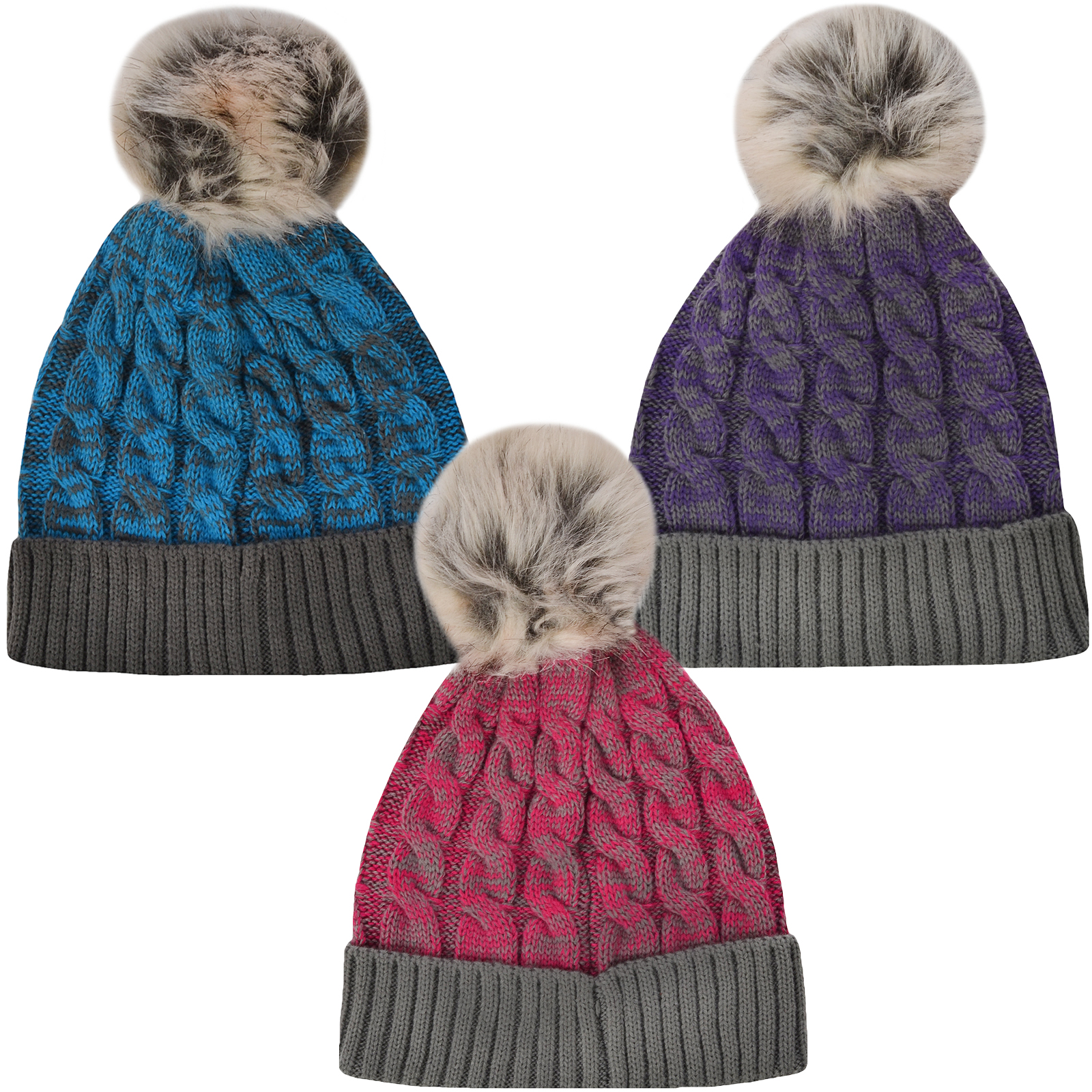 Womens Cable Knitted Winter Ladies DIAMANTE Faux Fur Pom Pom Bobble Beanie Hat