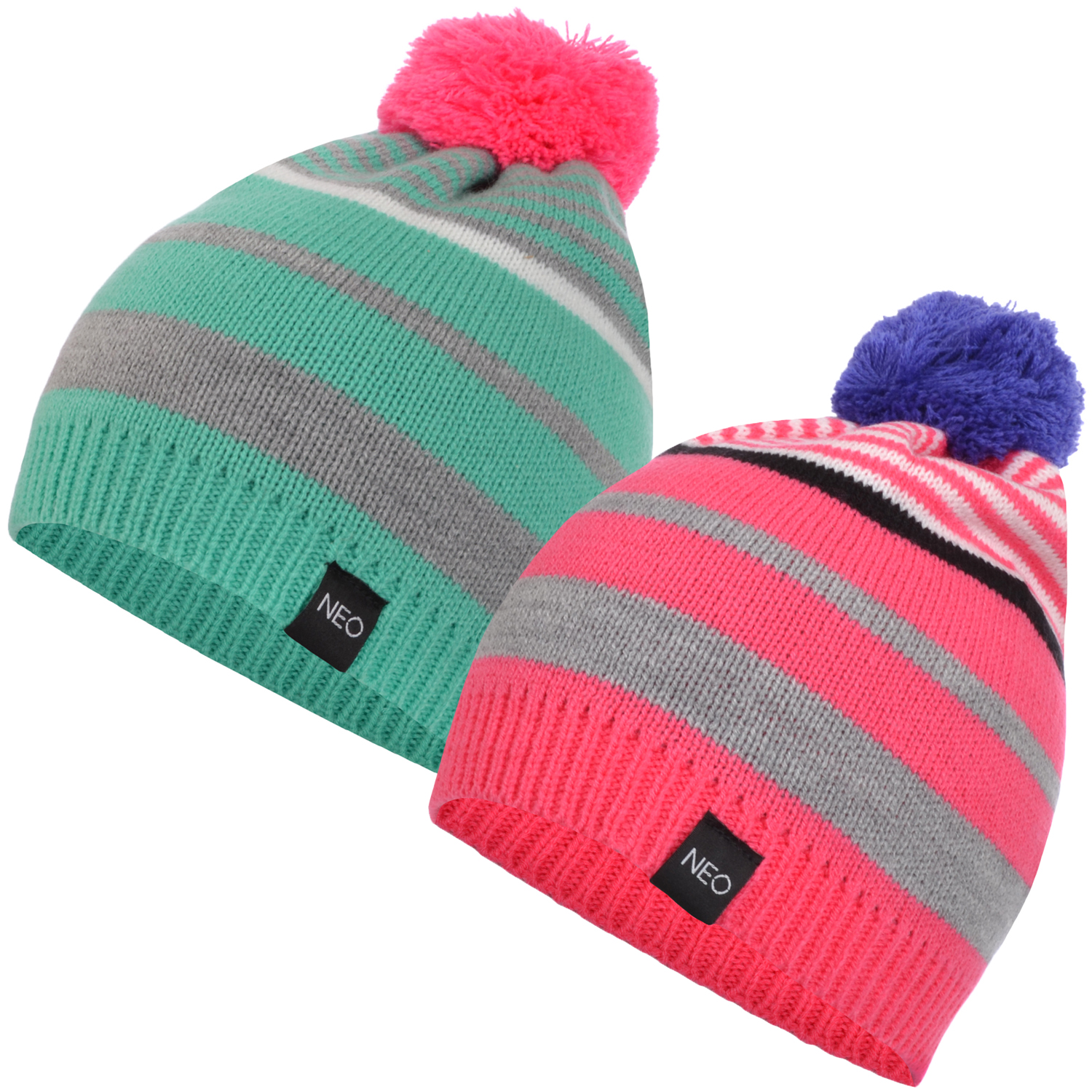 f7aaa10d35a Details about adidas NEO Womens Bobble Pompom Beanie Winter Warm Striped Hat  - One Size
