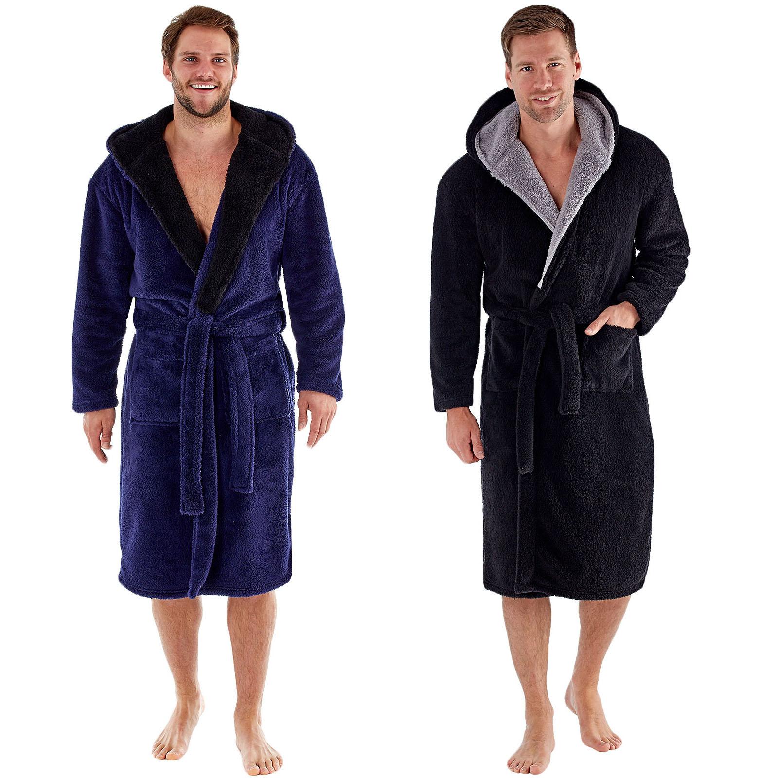 Harvey James Mens Super Soft Fleece Hooded Lounge Robe Dressing Gown ...