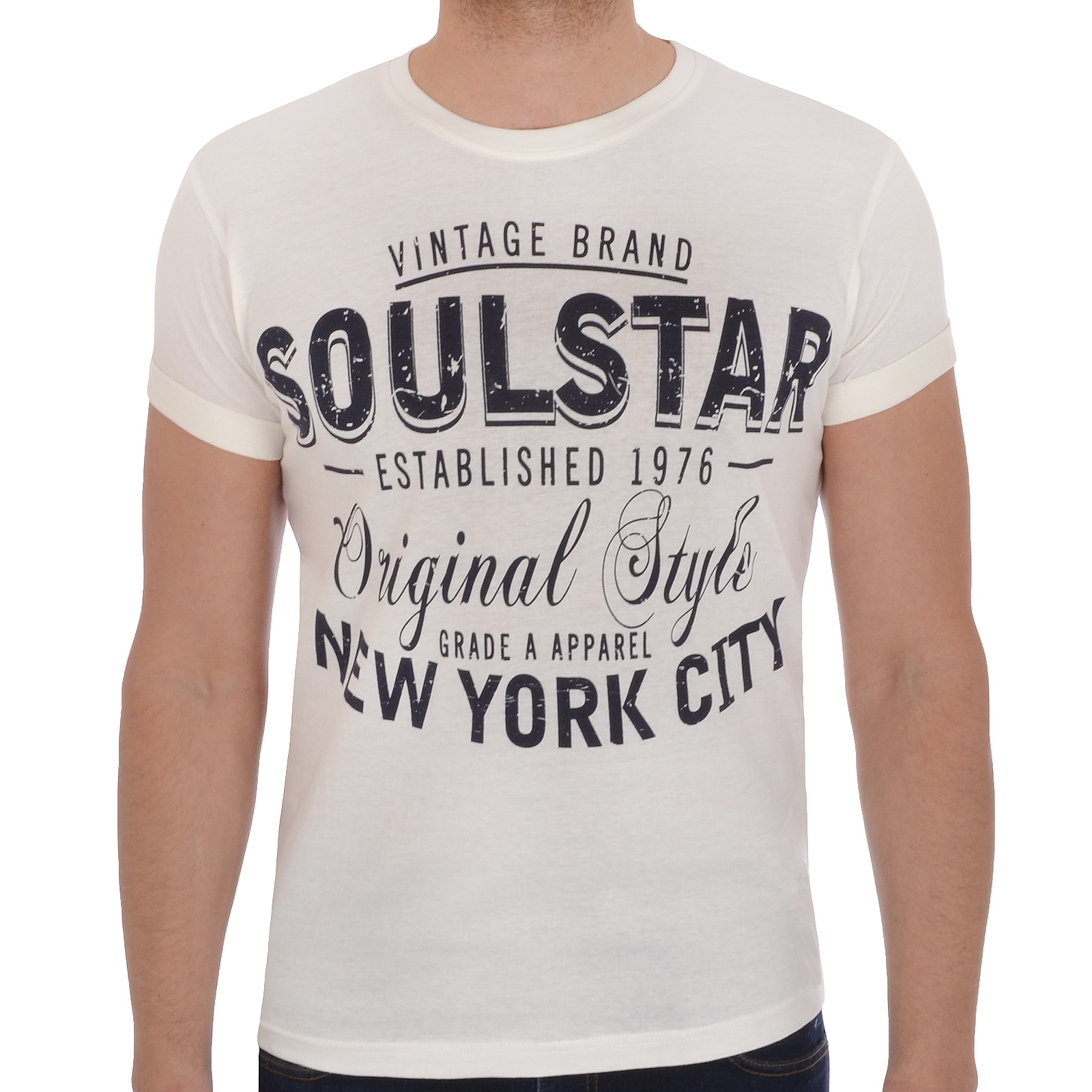 dbe582e6f Soul Star Mens Hijinx Short Sleeve Crew Neck Slim Fit Graphic T Shirt Tee  Top S Cream. About this product. Picture 1 of 3; Picture 2 of 3 ...
