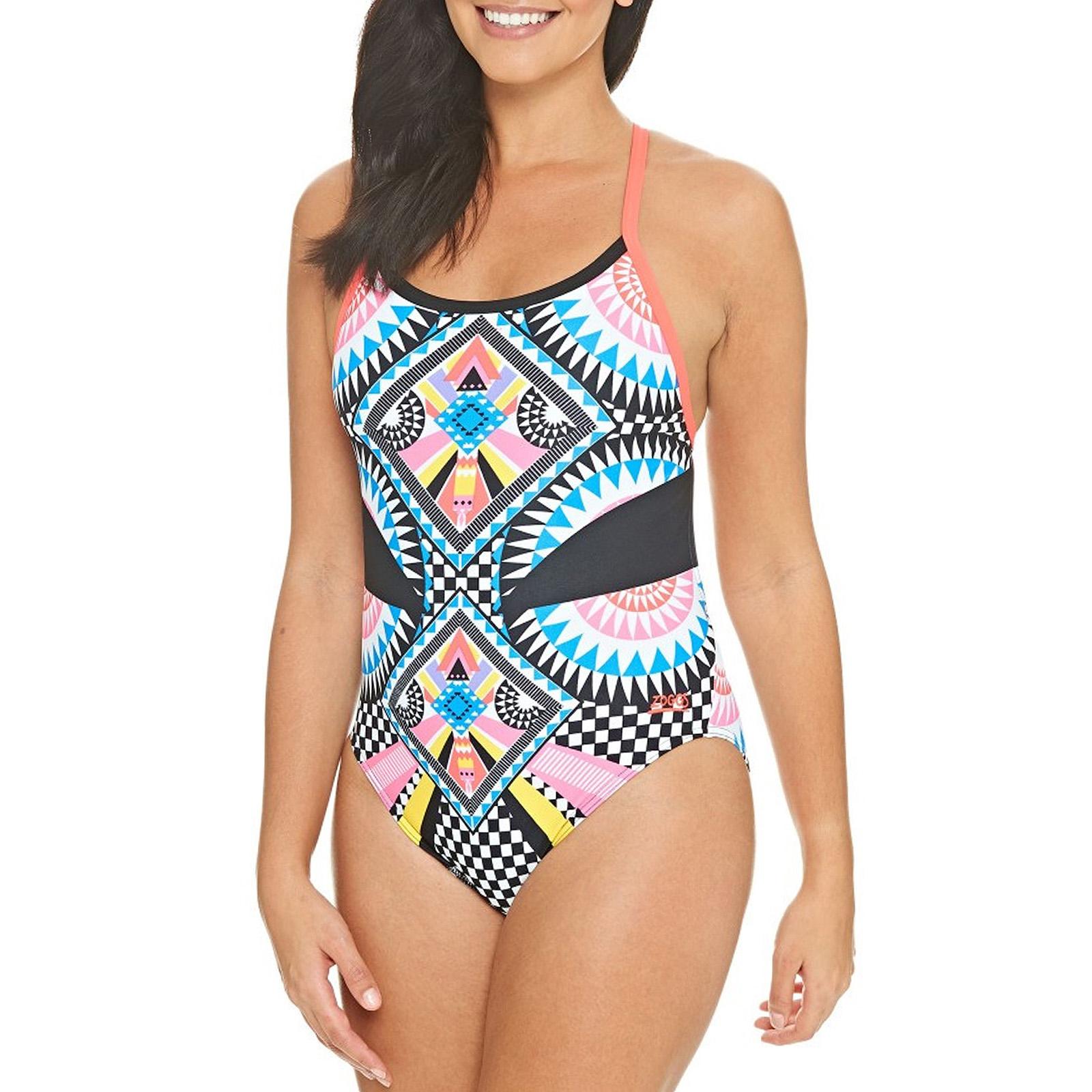 Multi Zoggs Womens Blast Muscle Swimming Swim Pool Holiday Swimsuit Costume