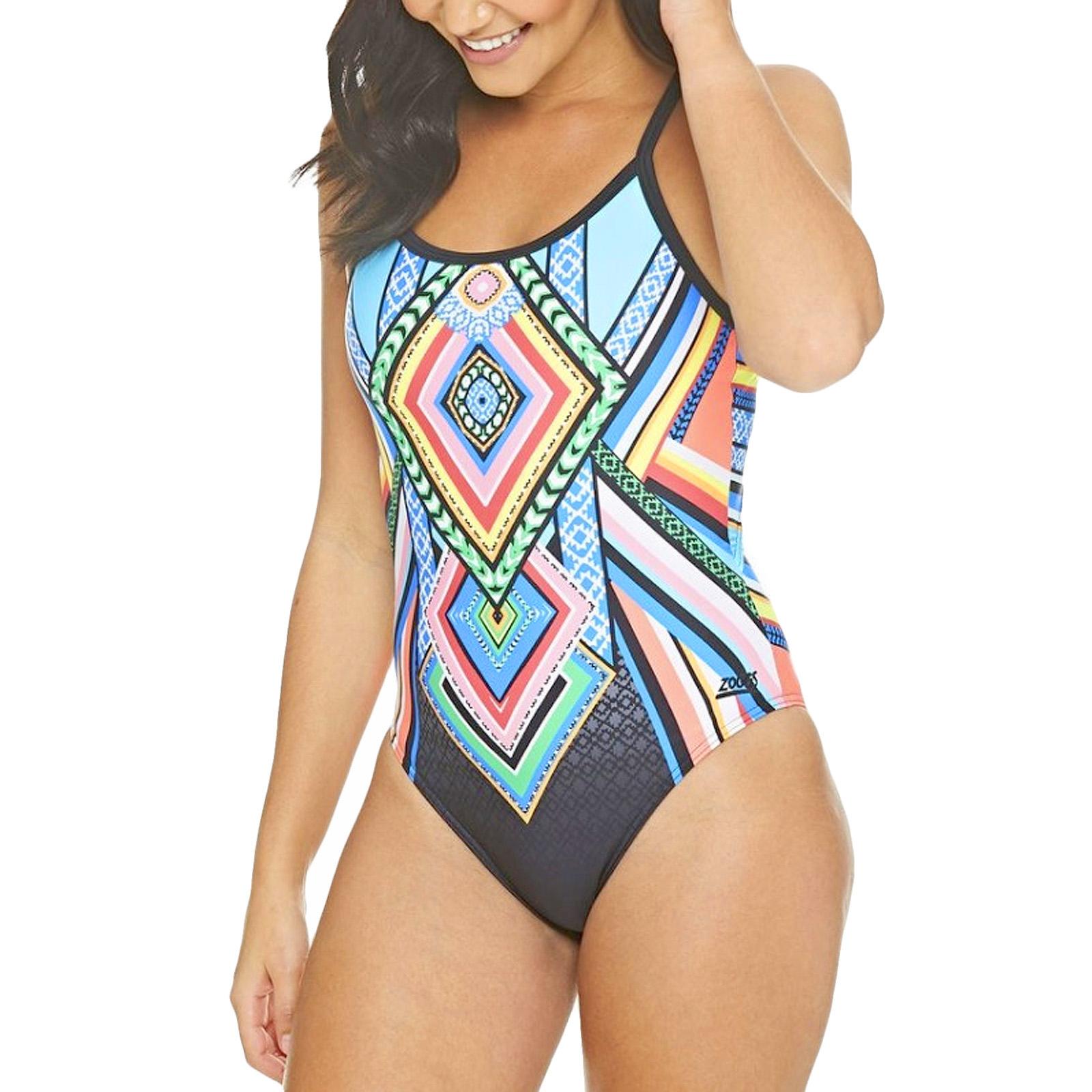 Grey Zoggs Womens Tassles Triback Swimming Pool Swim Summer Swimsuit Costume