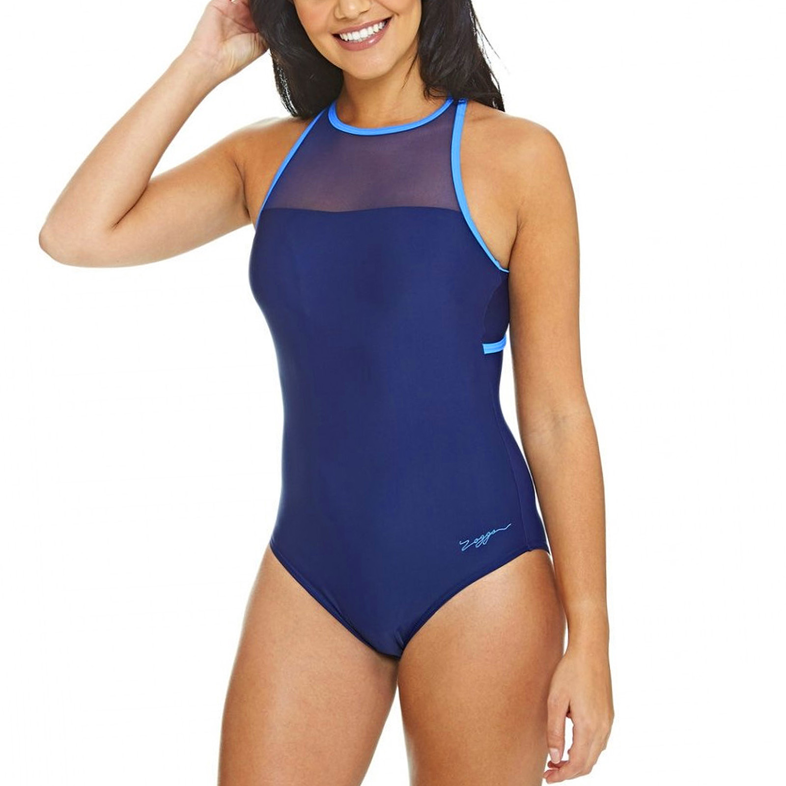 Black Zoggs Womens Merengo Mesh Clip Back Swimming Swim Pool Swimsuit Costume