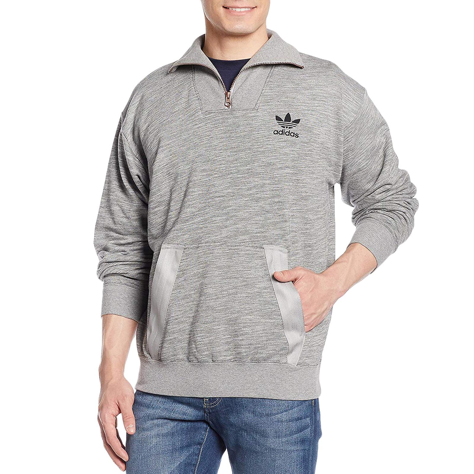 82b1c41d1 Details about adidas Originals Mens Noize Half Zip Long Sleeve Cotton Pullover  Sweatshirt-Grey