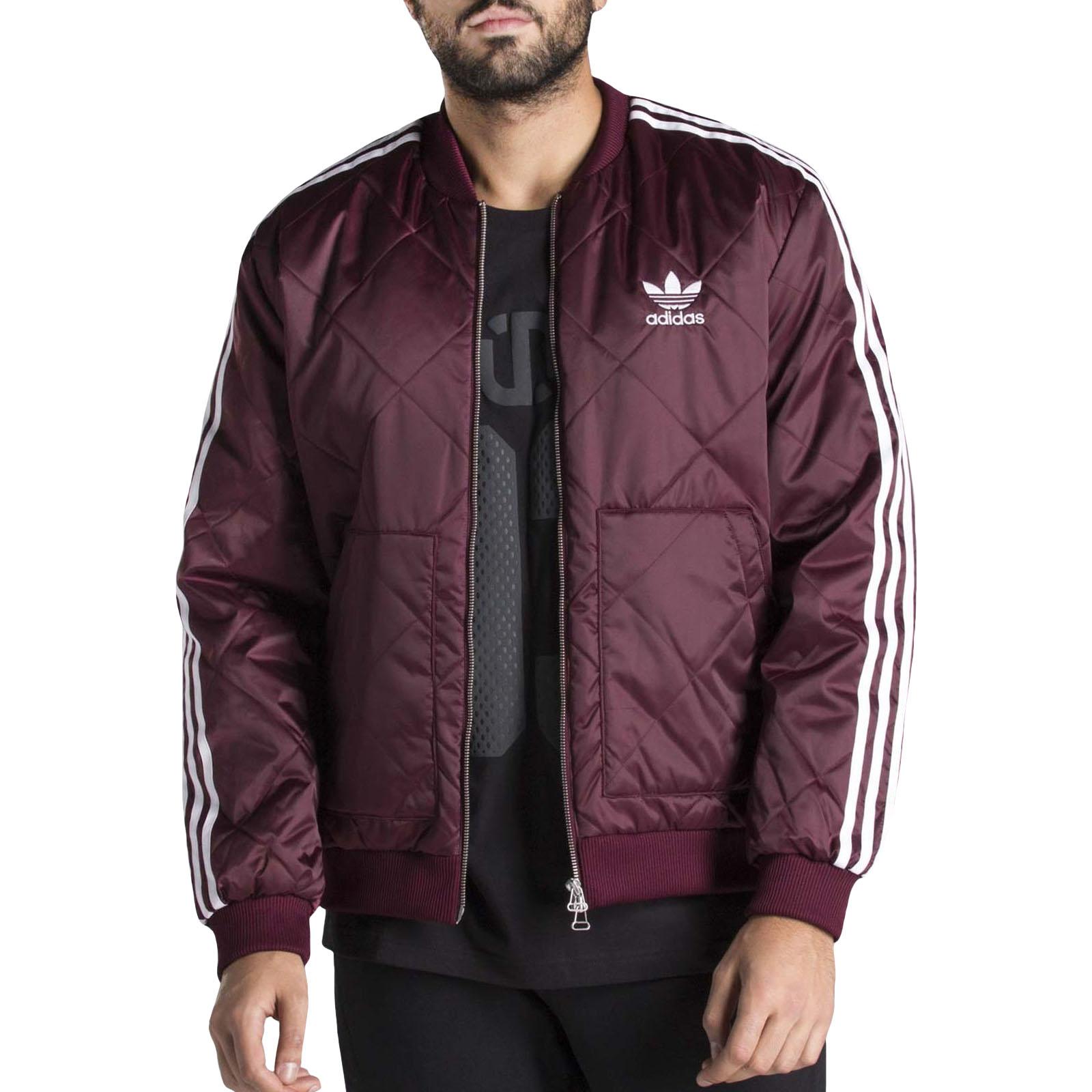 159bd93f adidas Originals Mens Superstar Quilted Zipped Long Sleeve Bomber Jacket  -Maroon