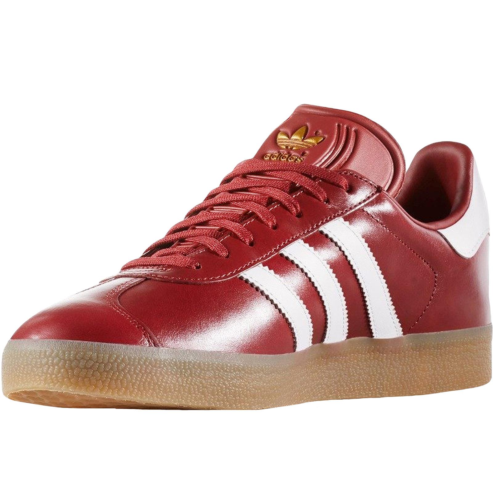 Détails sur Adidas Originals Homme Gazelle Lacets Décontractées En Cuir Baskets Baskets Rouge afficher le titre d'origine