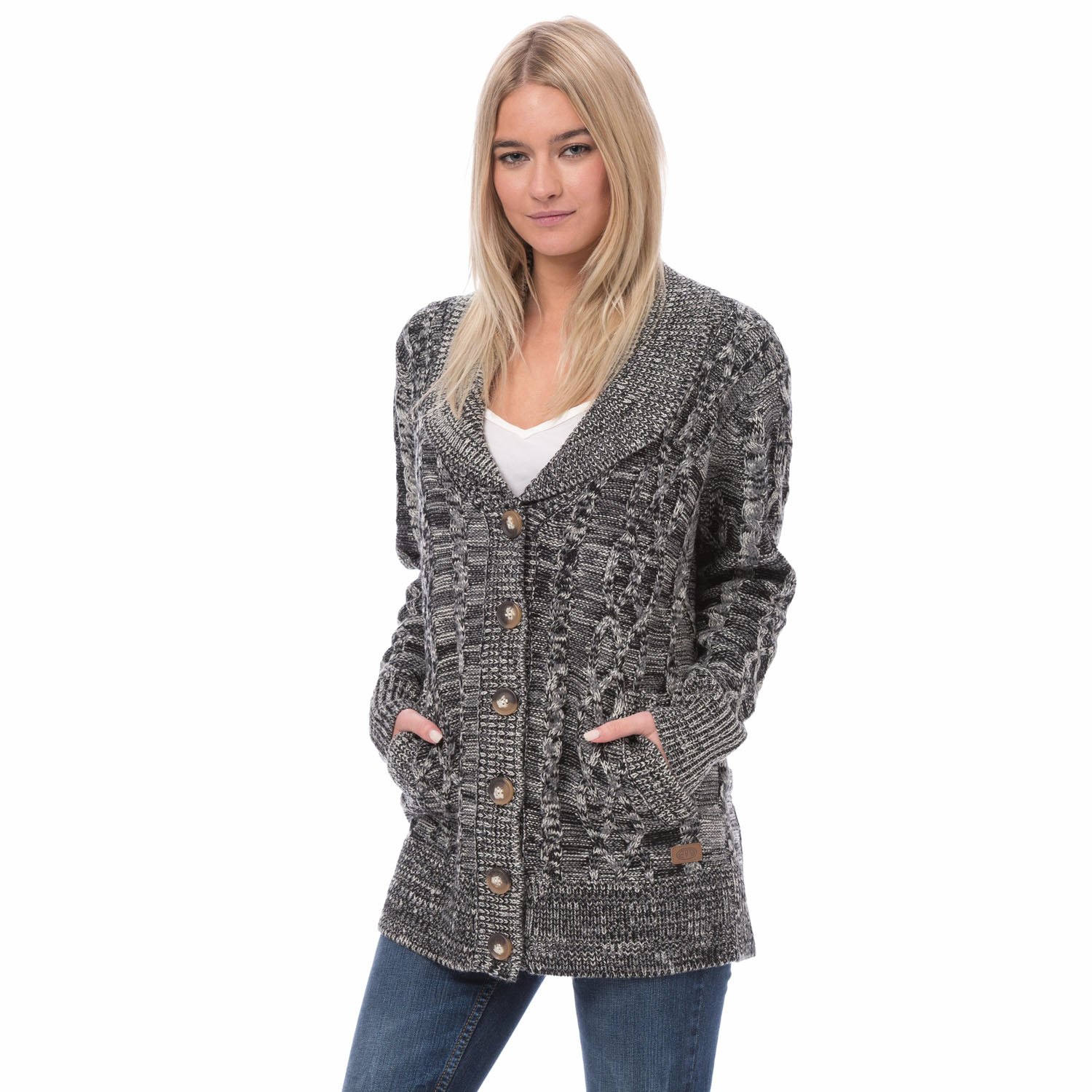 Animal Womens Chunky Knit Cardigan Button Up Knitted Winter Jumper ...