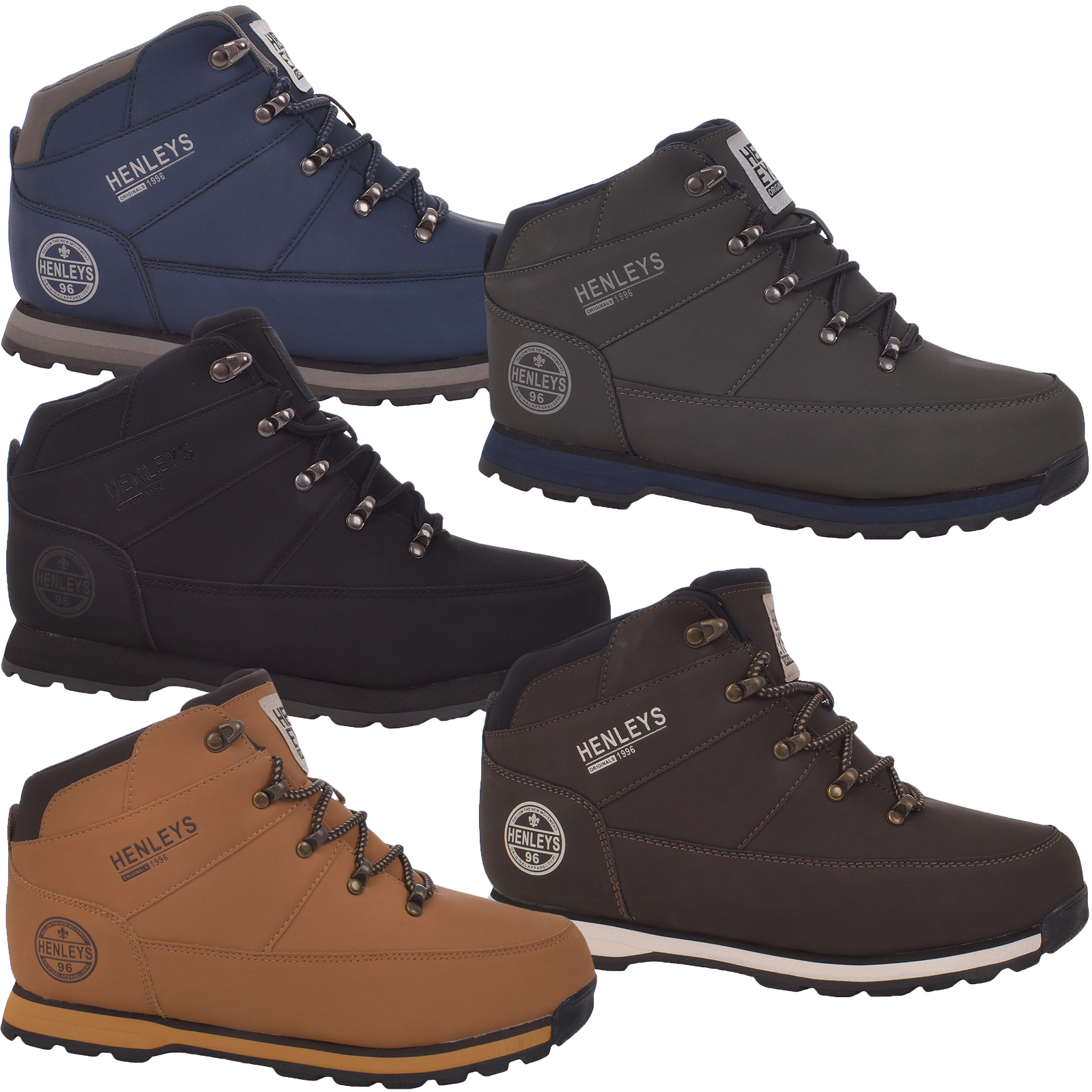 c4038356608 Details about Henleys Mens Oakland Lace Up Casual High Top Outdoor Hiking  Walking Boots Shoes