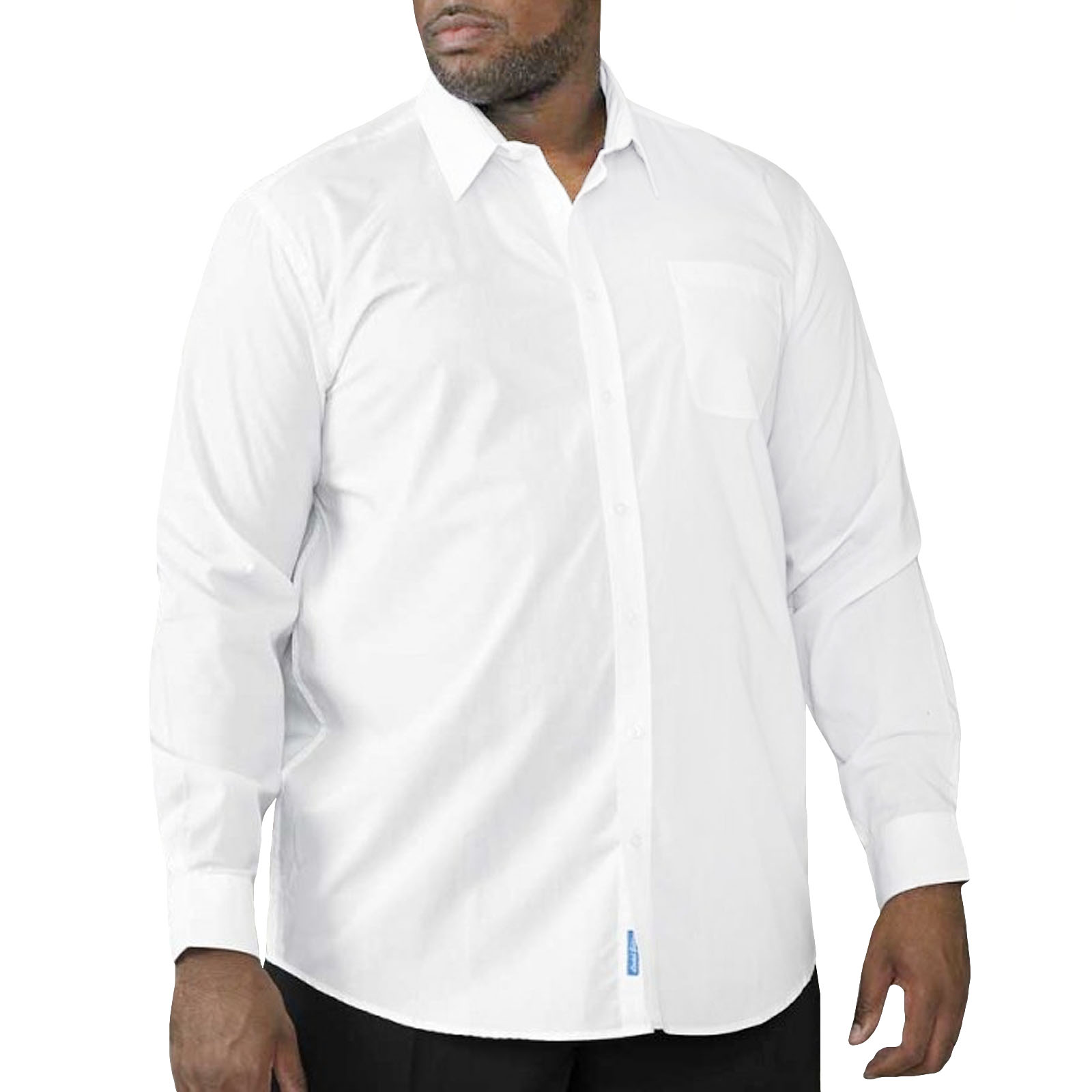 Details about D555 Mens Aiden Easy Iron Smart Casual Long Sleeve Button Up  Shirt - White 26cf86f2a59