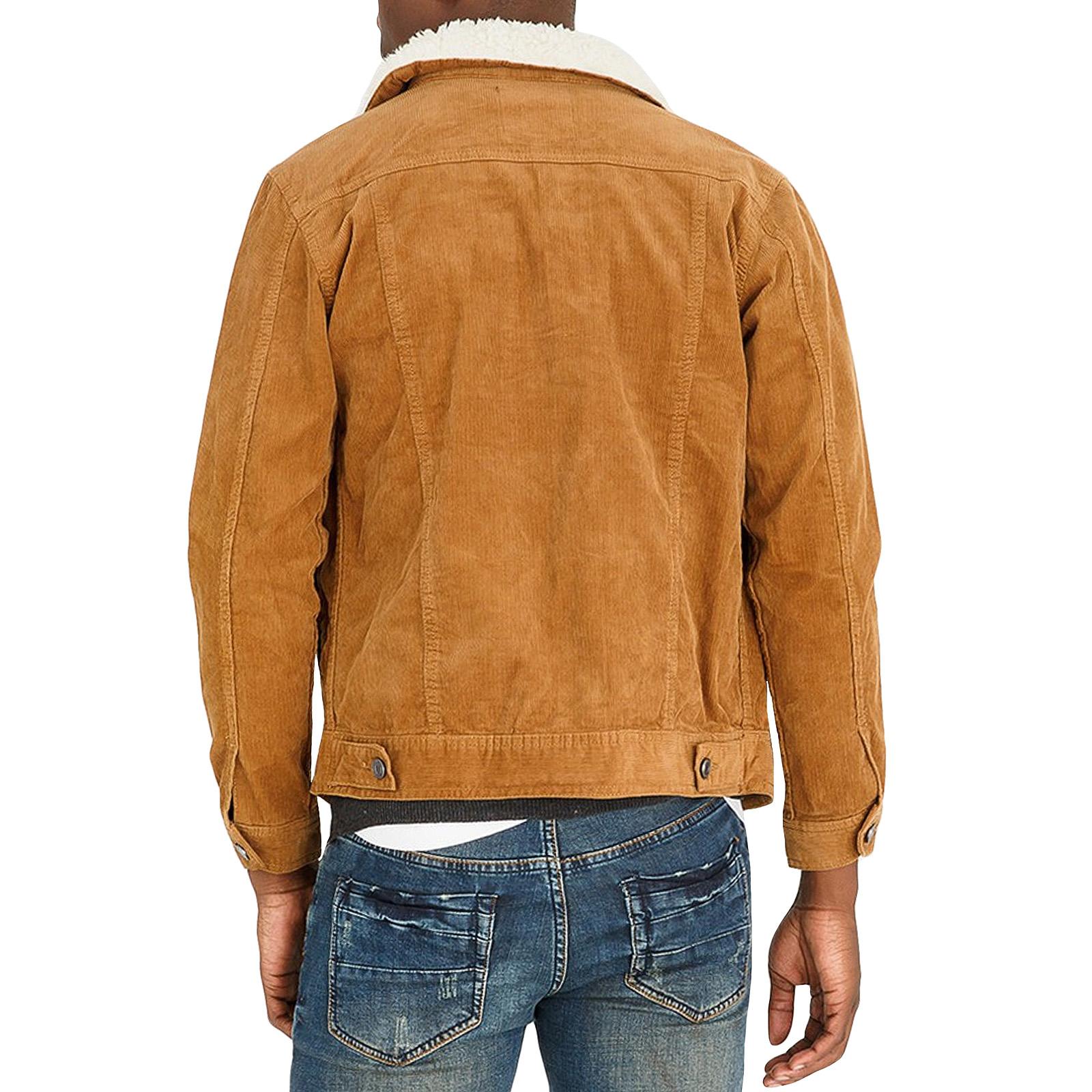 Brave-Soul-Homme-Prestwich-a-manches-longues-velours-boutonne-Casual-Demin-Veste-Manteau miniature 3