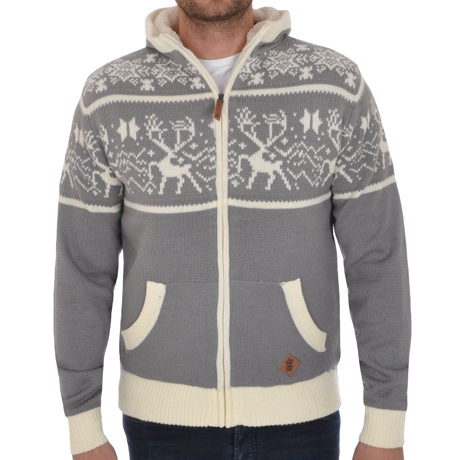 Soul Star Mens Knitted Zip up Hooded Cardigan Christmas Jumper ...
