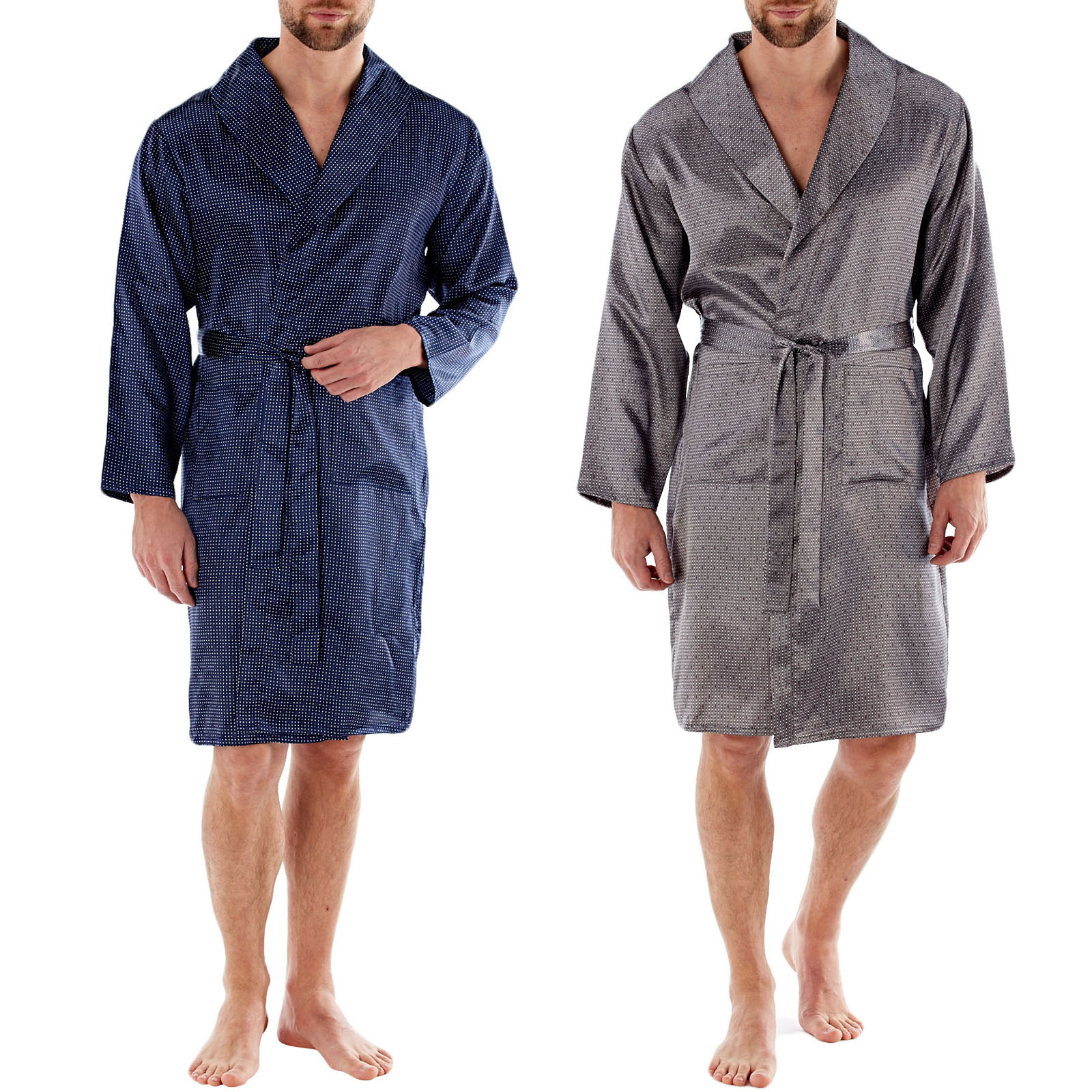 4 COLOURS MENS HARVEY JAMES SATIN DRESSING GOWN//ROBE UK SIZES M-XXL