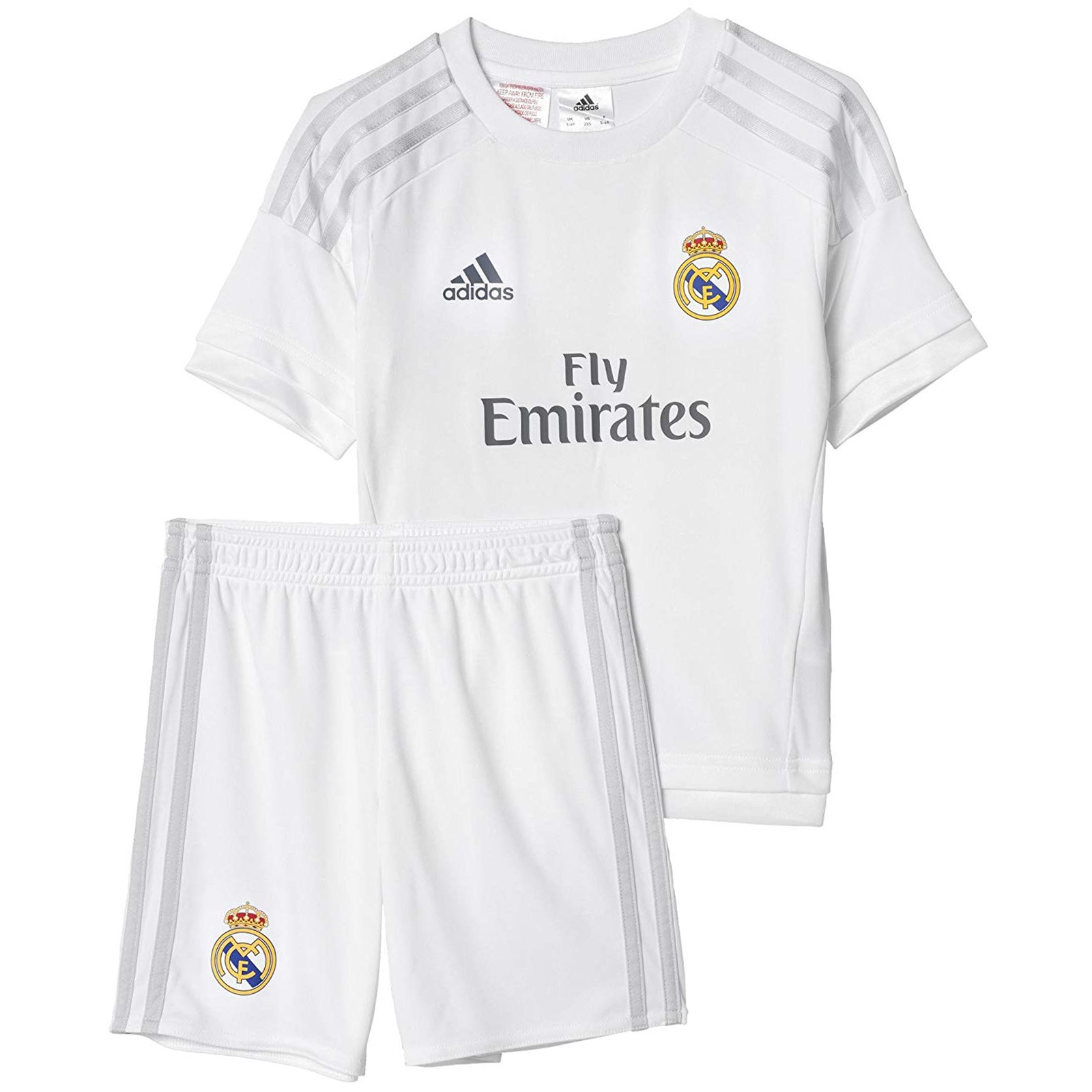 066c29ca0c7 Details about adidas Performance Boys Kids Real Madrid Home Football Mini  Kit - White - 2XS
