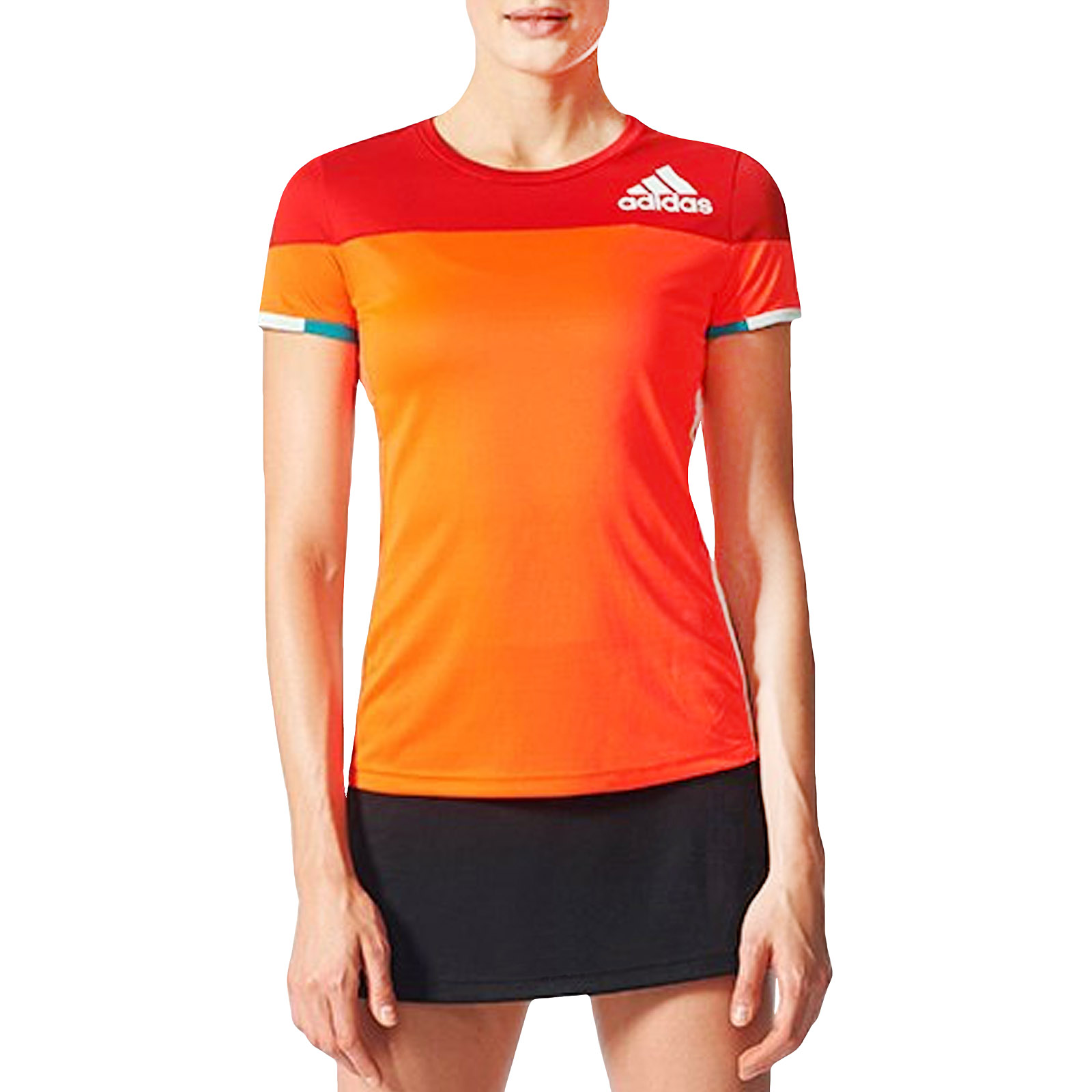 efbe977ffd803 Details about adidas Performance Womens Colorblock Badminton Sports  Training T-Shirt Top - Red
