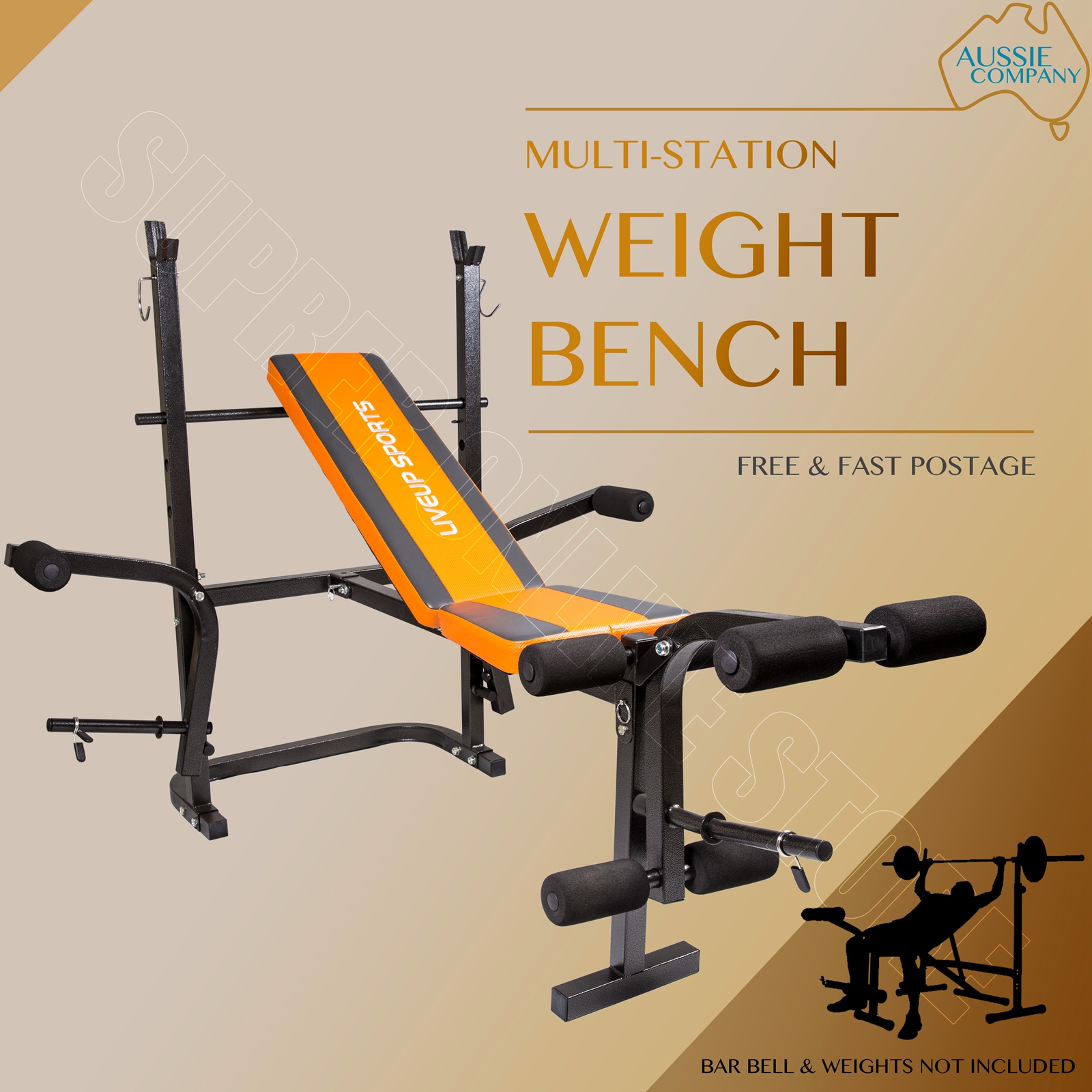 Weights Bench Multi Home Gym Equipment Dumbell Workout Abs: Multi-Station Weights Bench Home Gym Fitness Curl Press