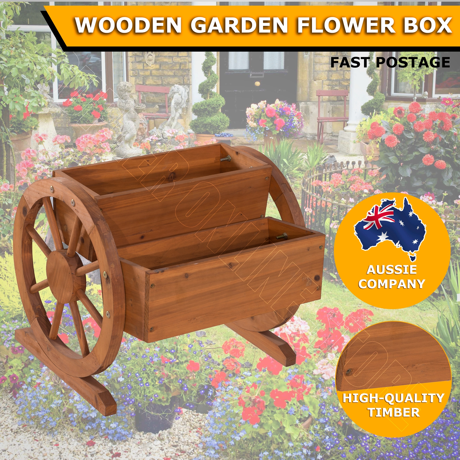 2 tiers wooden garden flower planter box rustic waterwheel for Wooden garden ornaments and accessories