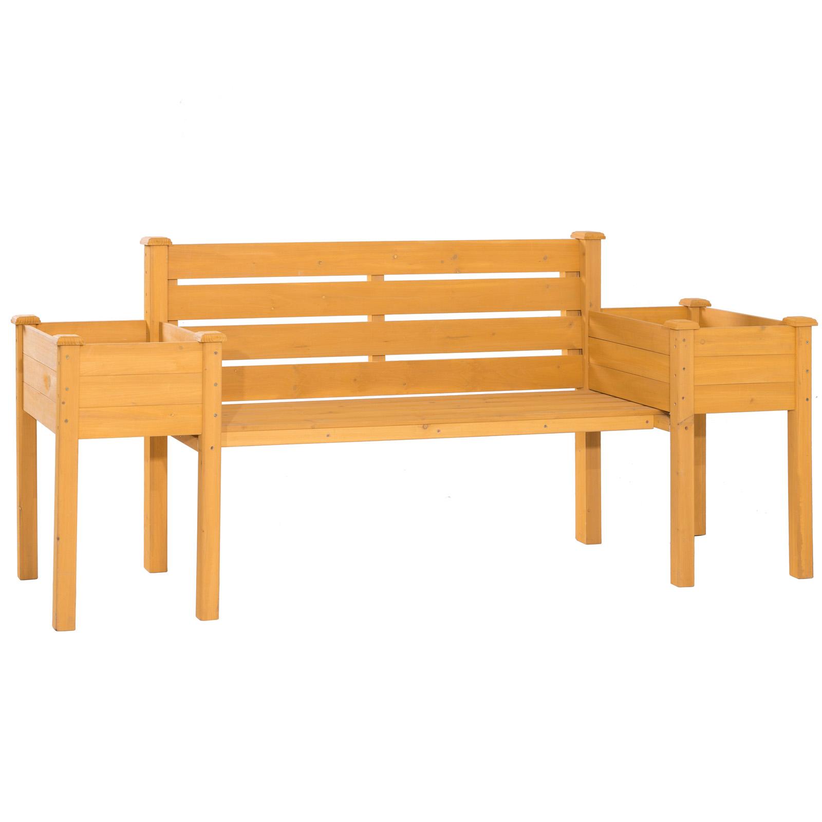 Wooden Garden Bench Chair With 2 Side Flower Planter Box Outdoor Furniture Decor Ebay