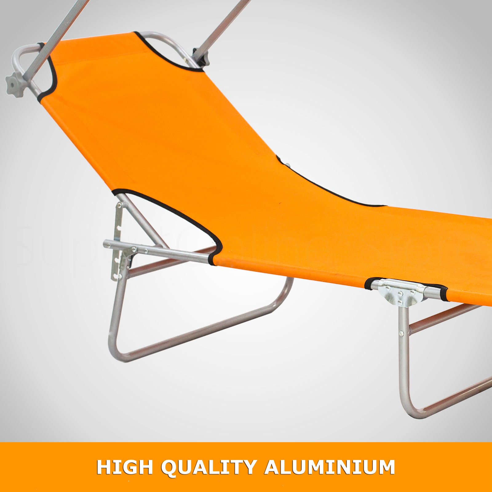 Aluminium Folding Reclining Sun Bed With Sunshade Lounge Pool Beach Chair Orange